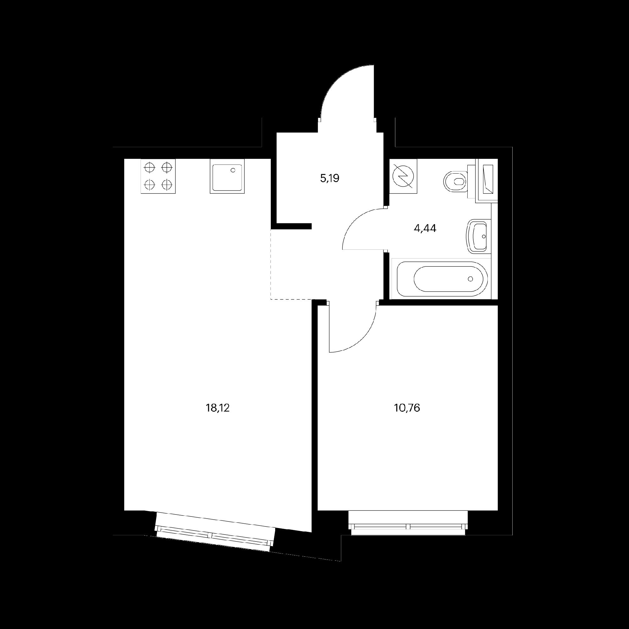 1-комнатная 38.51  м²