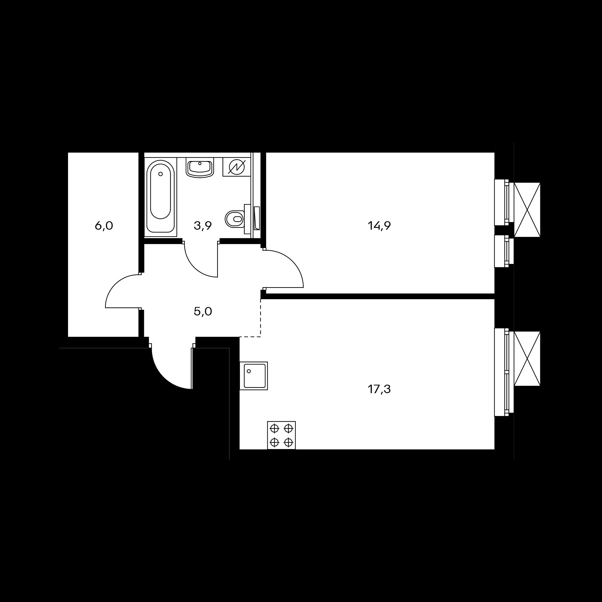1-комнатная 47.1  м²