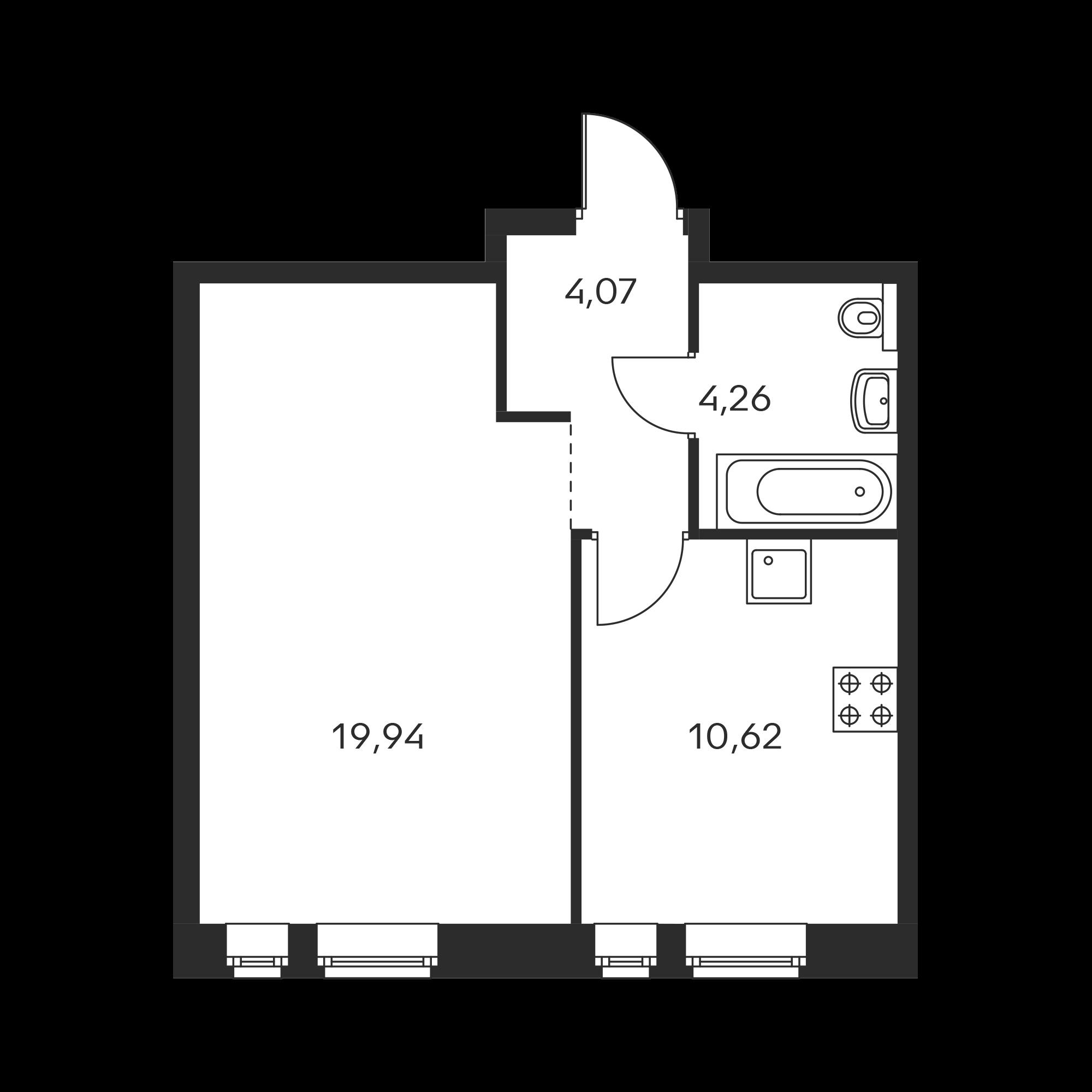 1-комнатная 38.89 м²