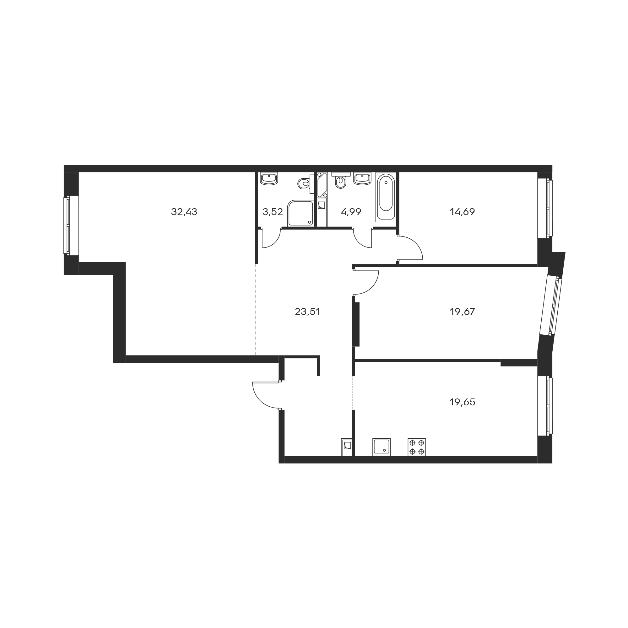 3-комнатная 118.46 м²