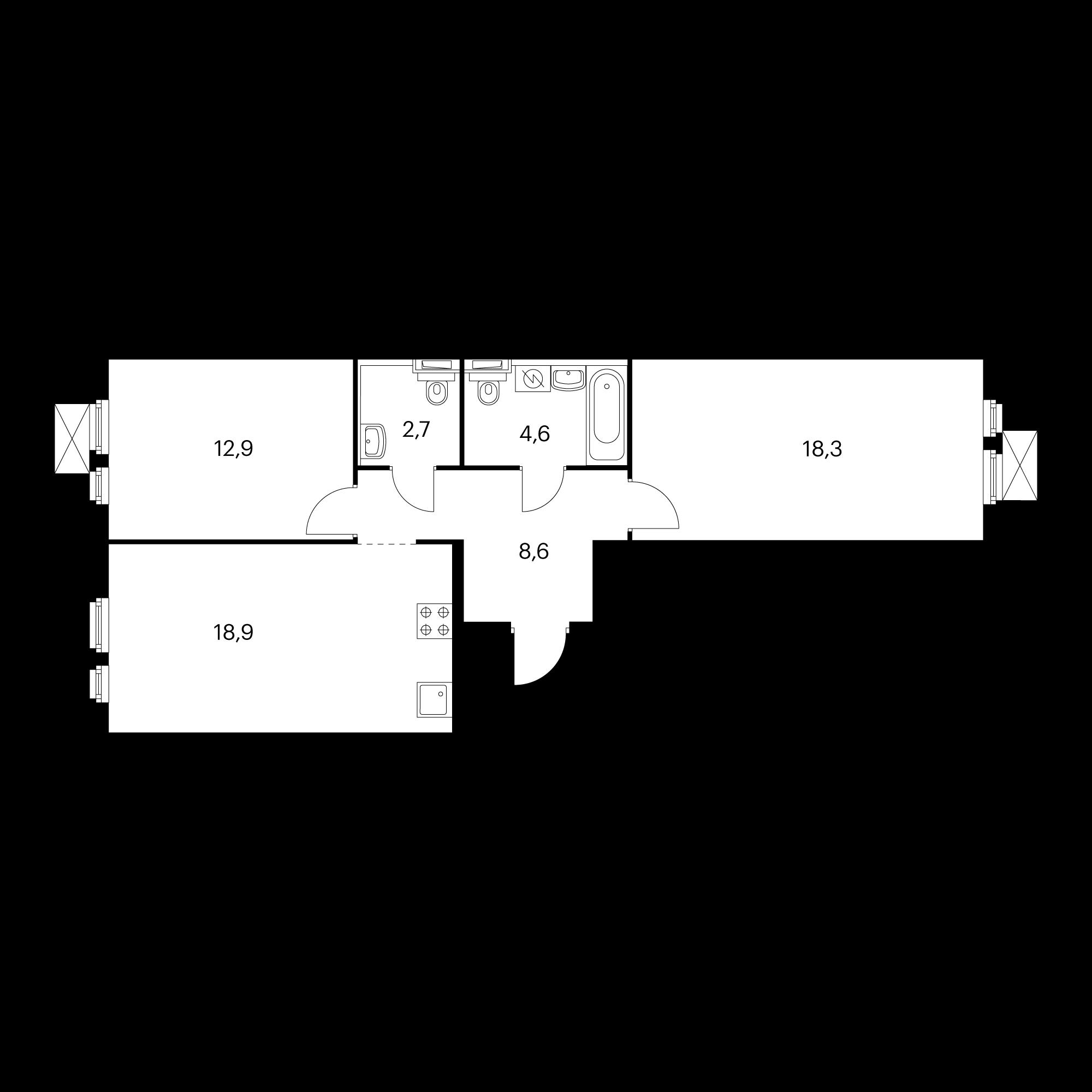 2-комнатная 66  м²