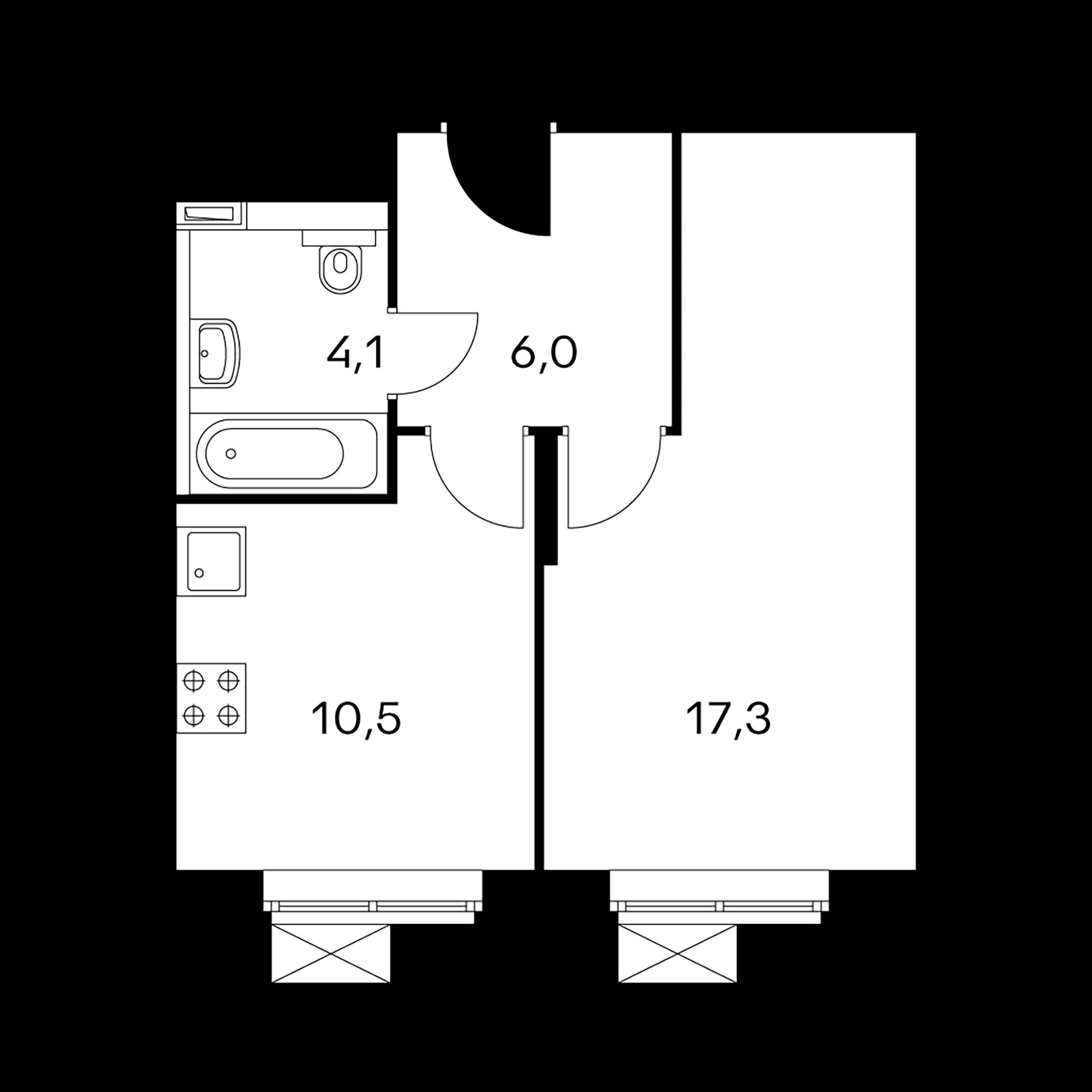 1-комнатные 37.9  м²