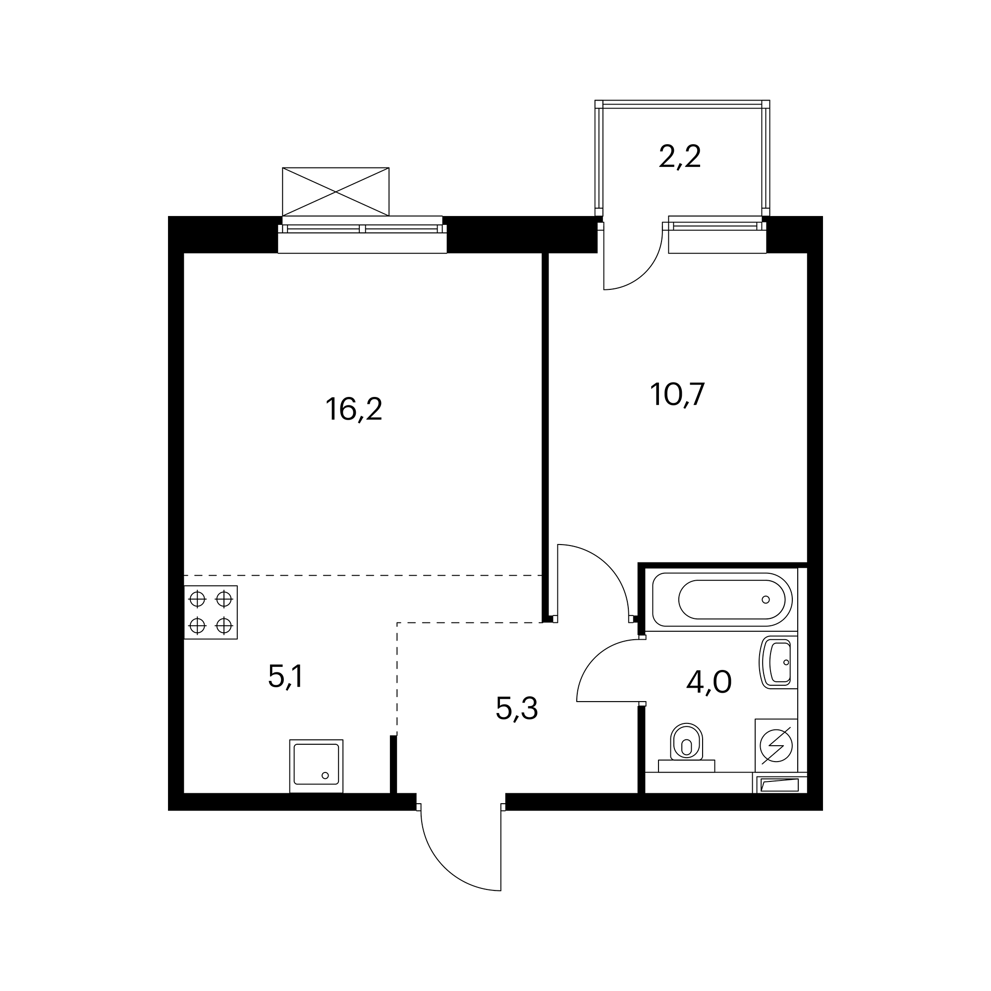 2-комнатная 42  м²