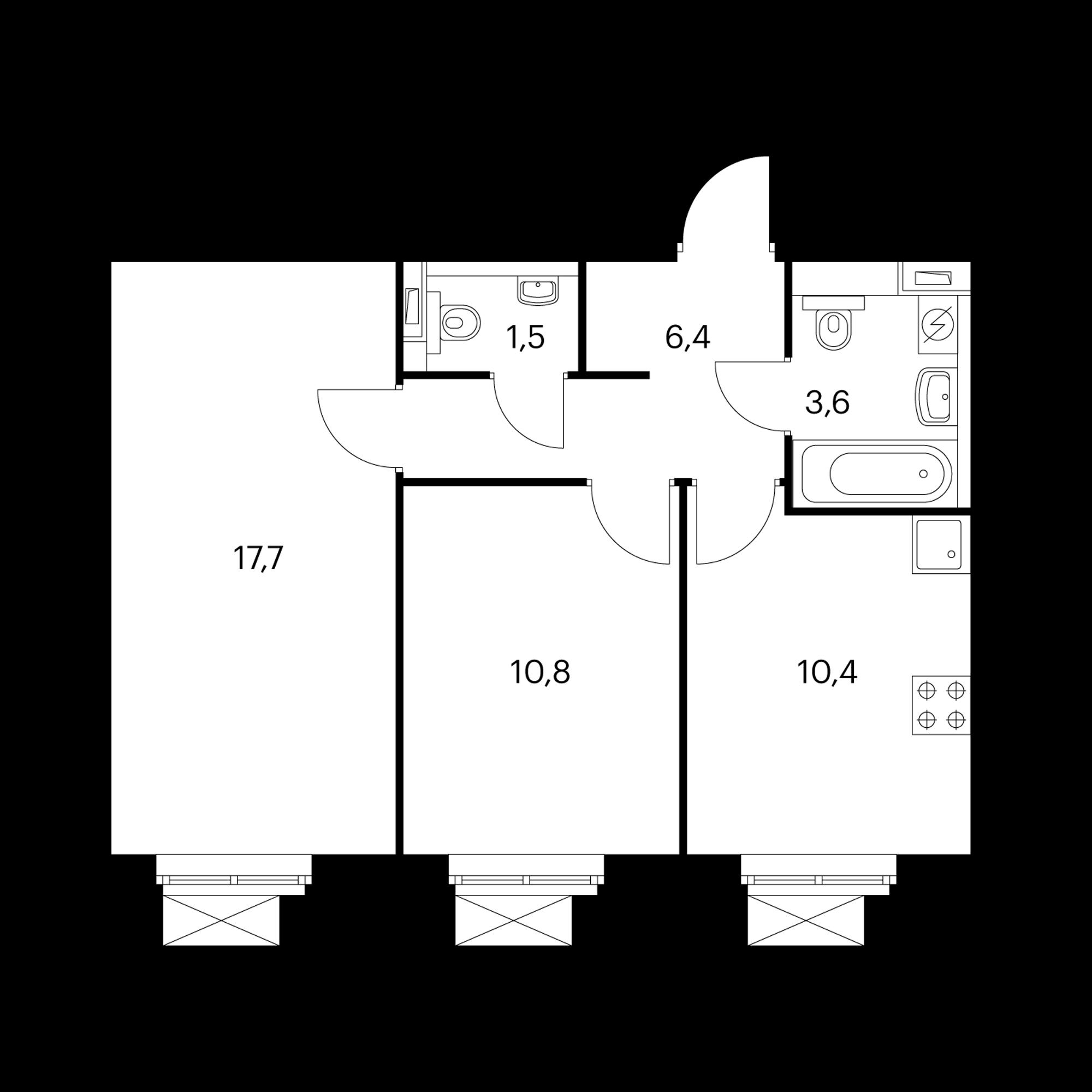 2-комнатная 50.4 м²