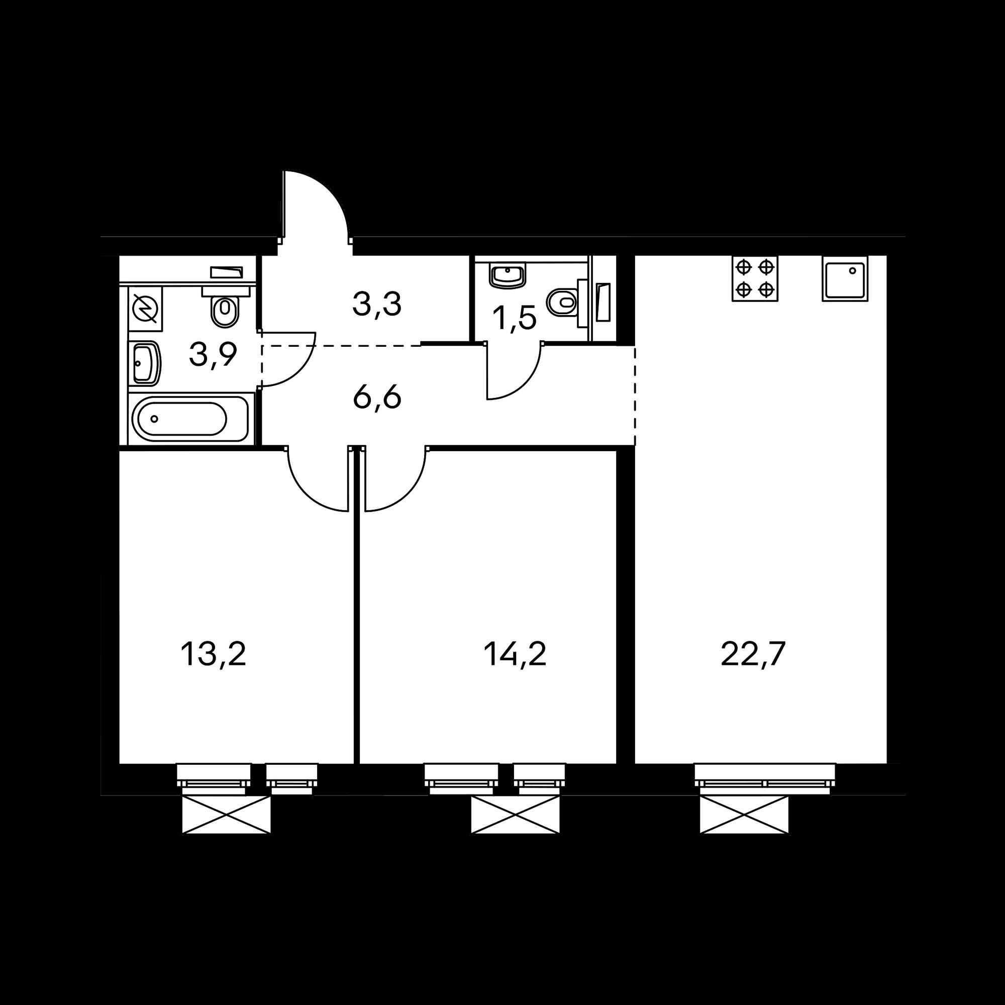 2-комнатная 65.8  м²