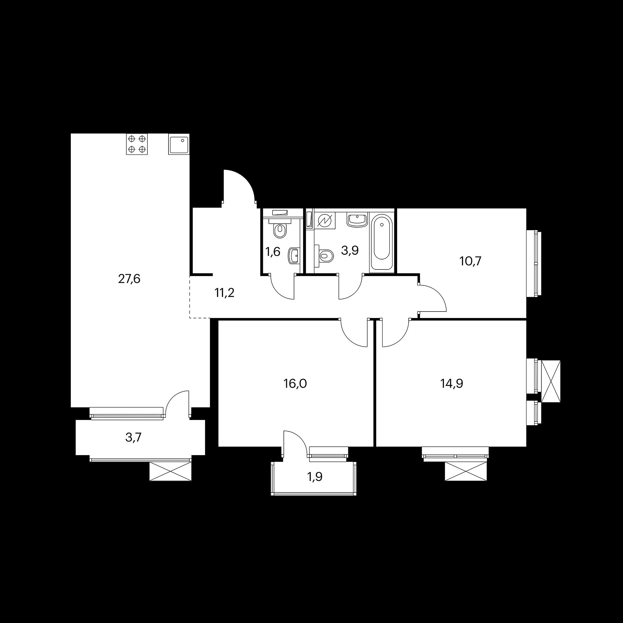 3-комнатная 88.3 м²