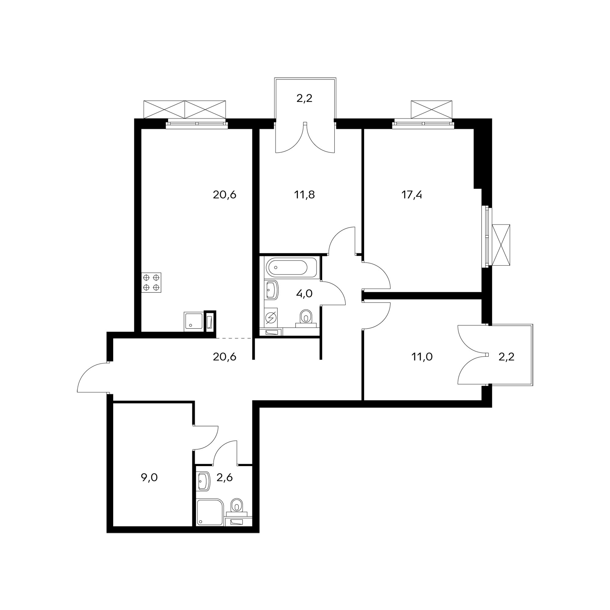 3-комнатная 98.4 м²