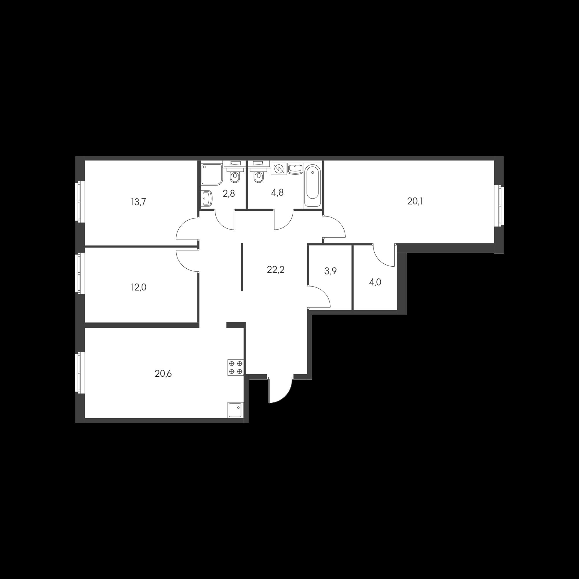 3-комнатная 104.1 м²