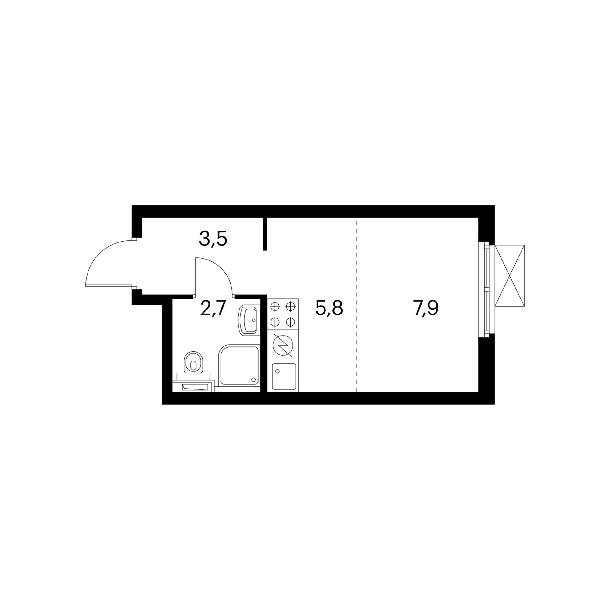 Студия 19.9  м²