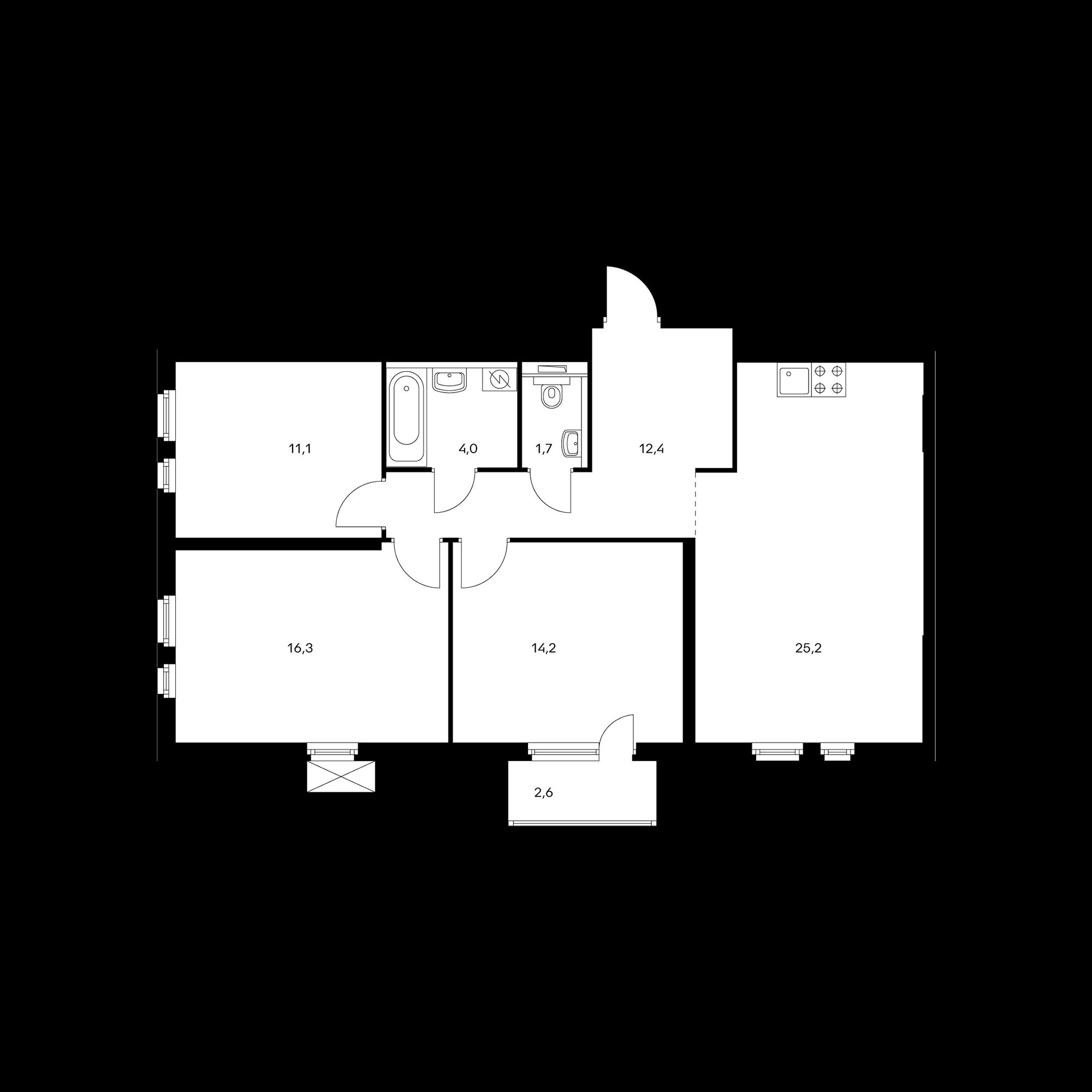 3-комнатная 85.7  м²