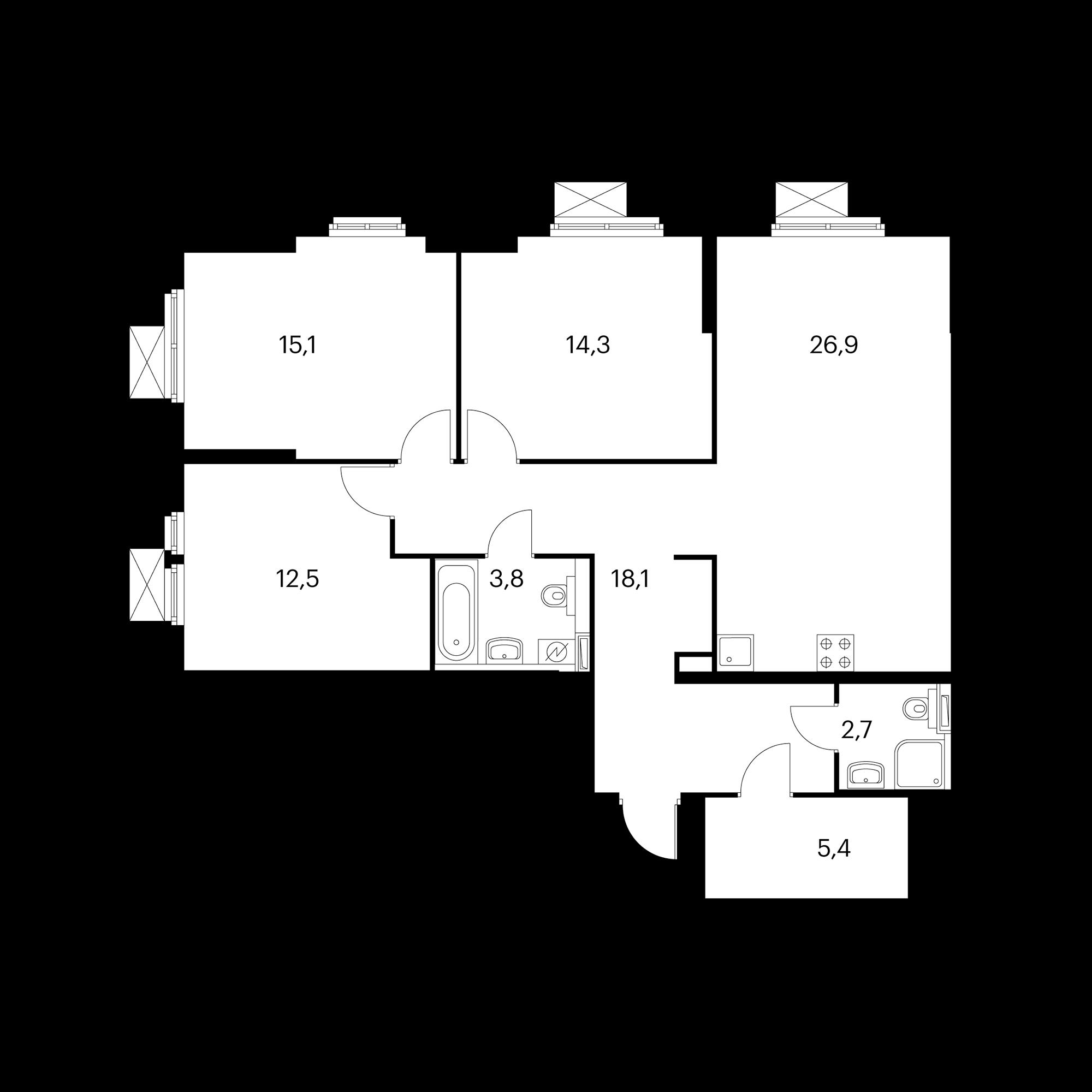 3-комнатная 98.8  м²