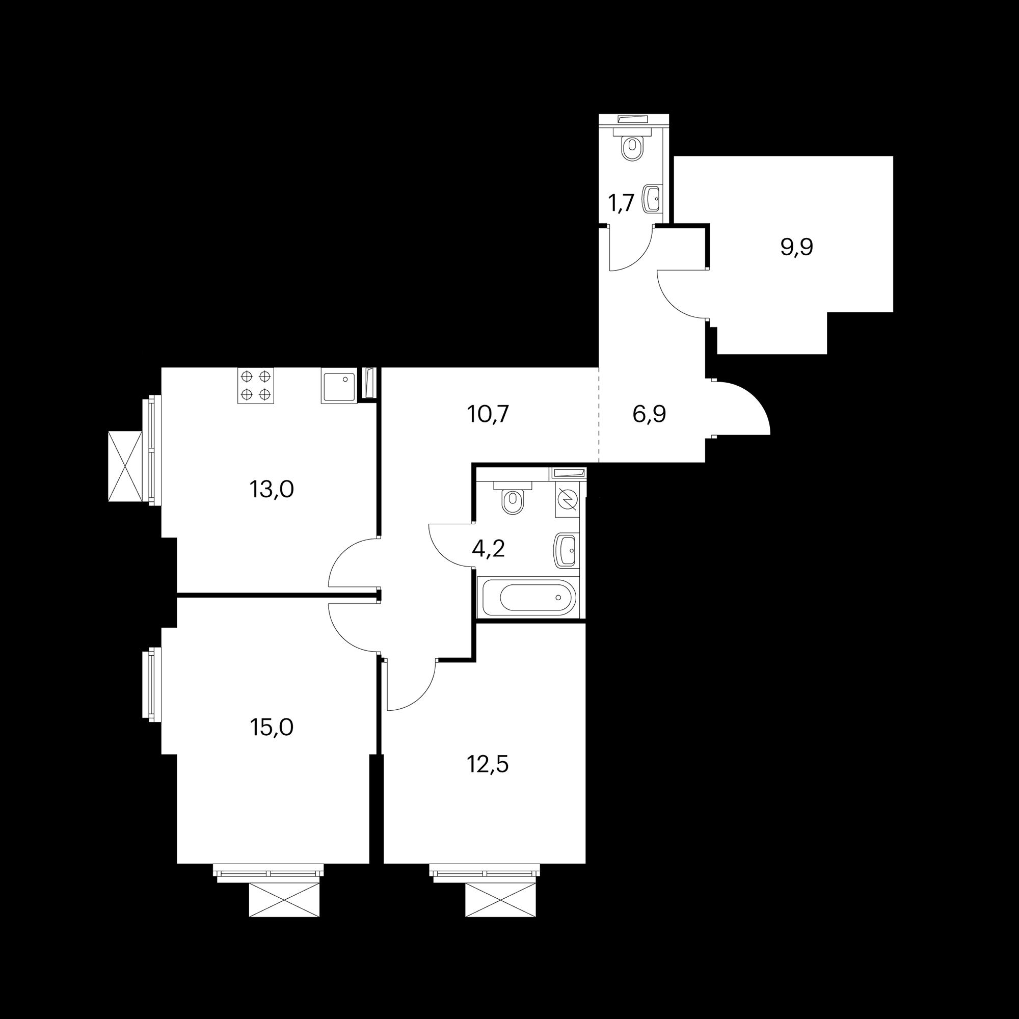 2-комнатная 73.9  м²