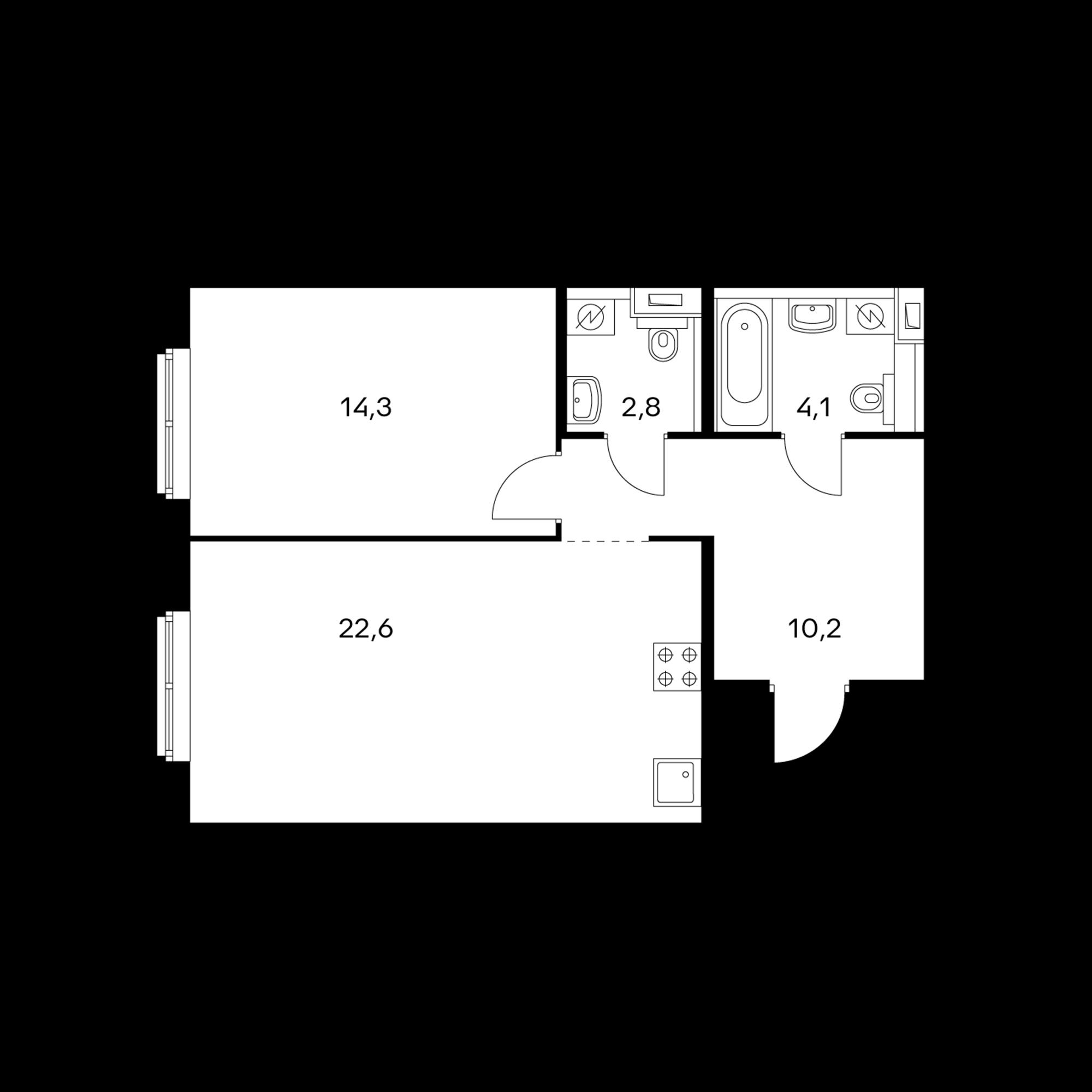 1-комнатная 54 м²