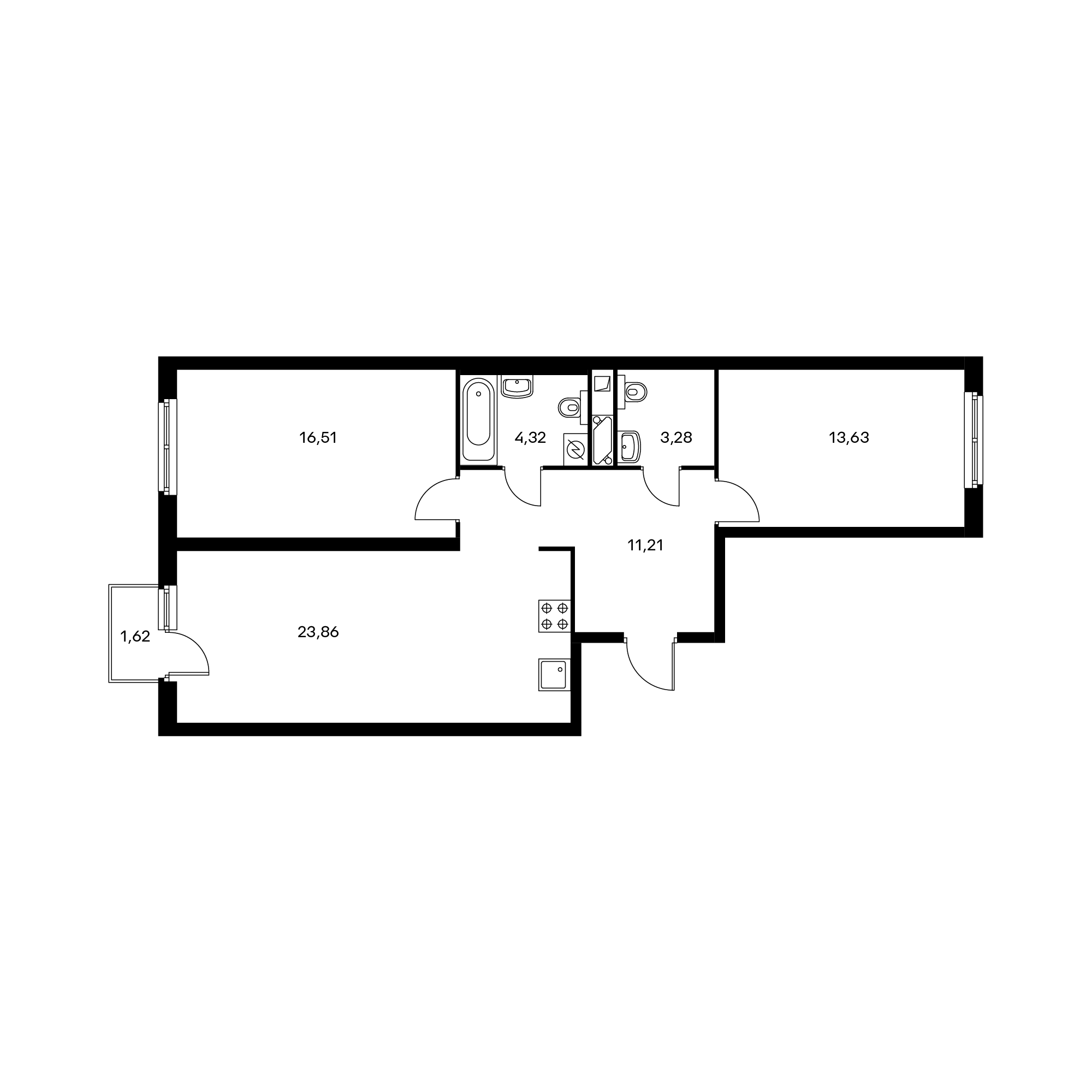 2-комнатная 73.3  м²