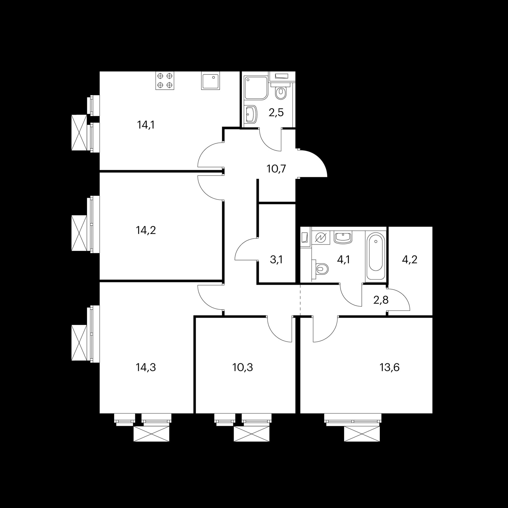 4-комнатная 95 м²