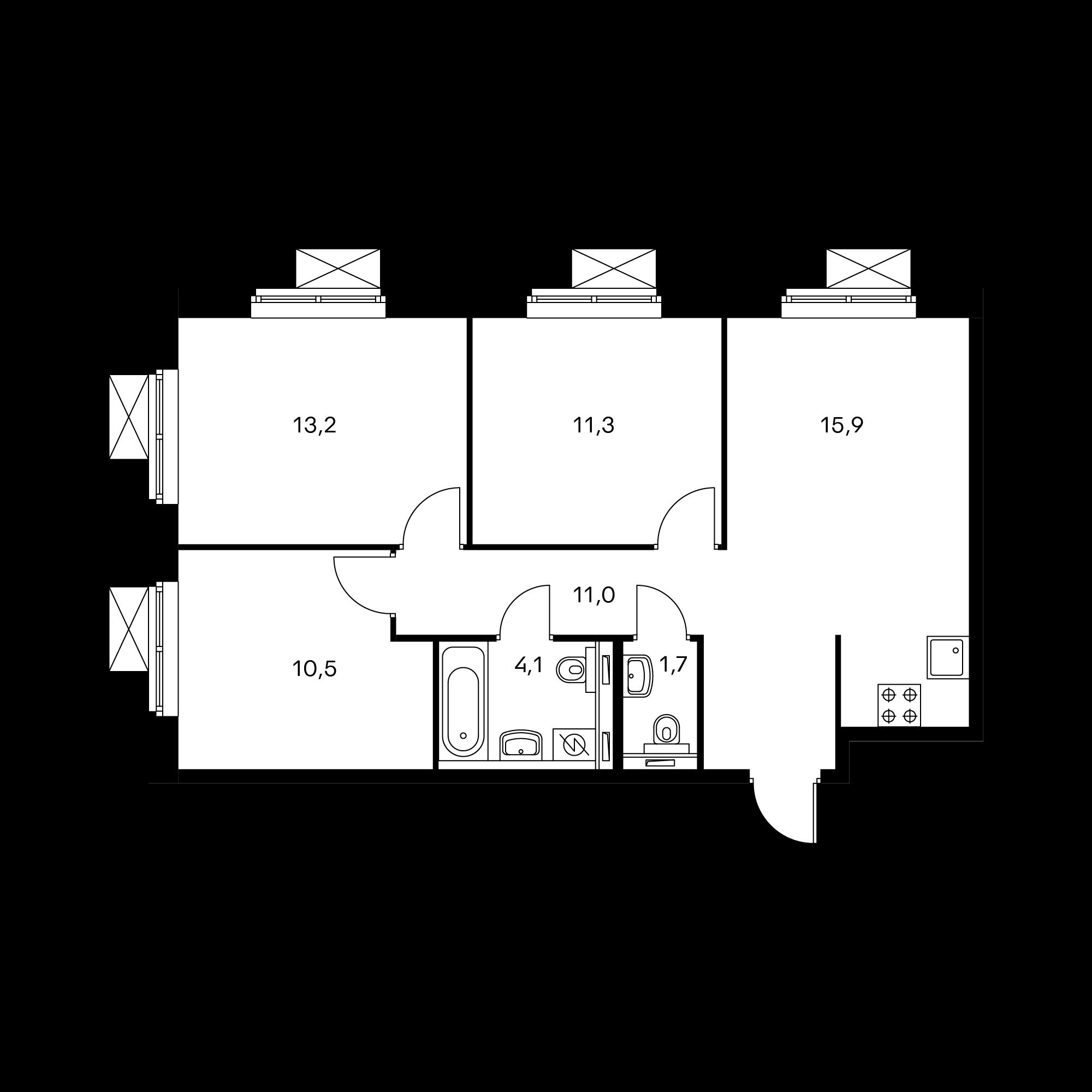 3-комнатная 67.4 м²