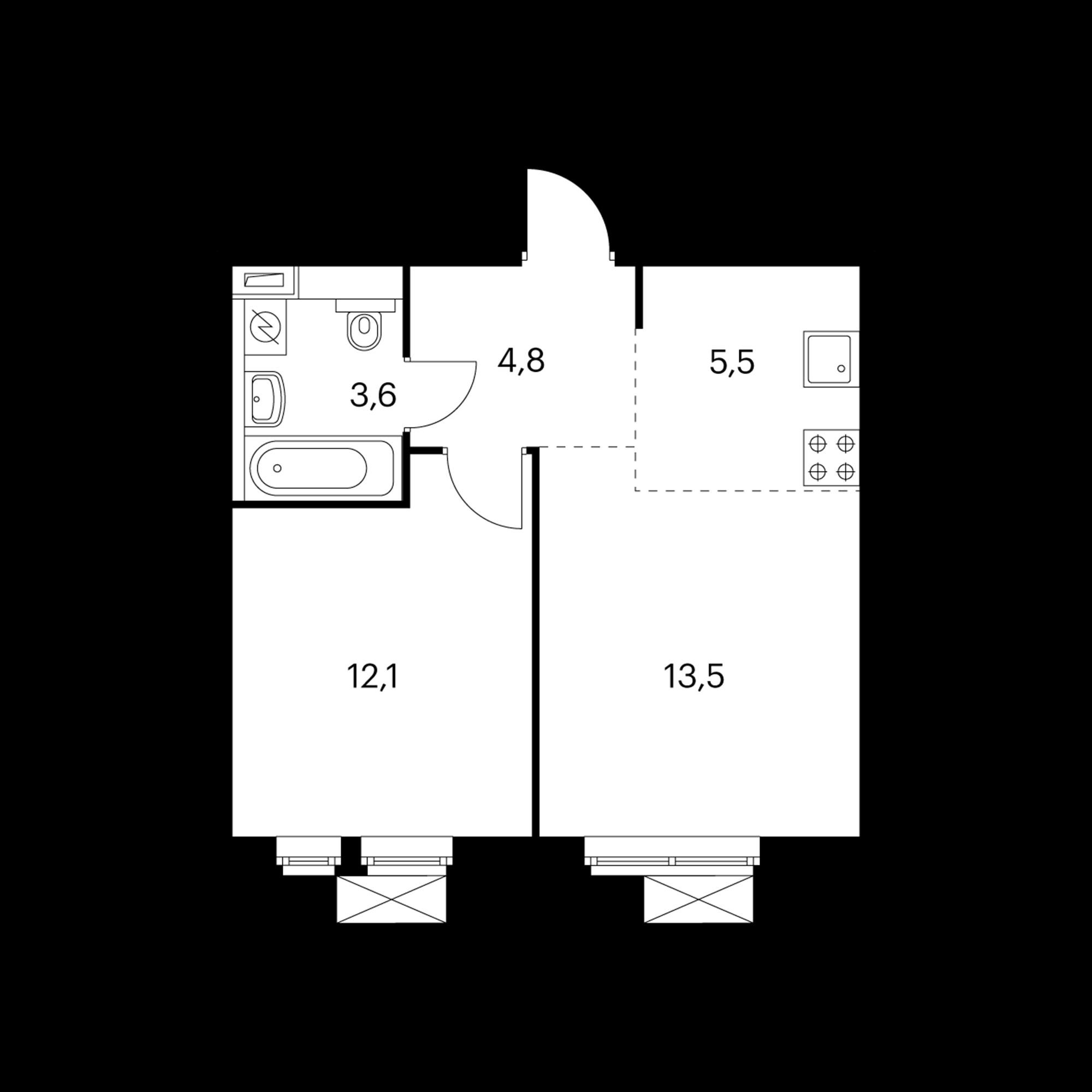 2-комнатная 40 м²