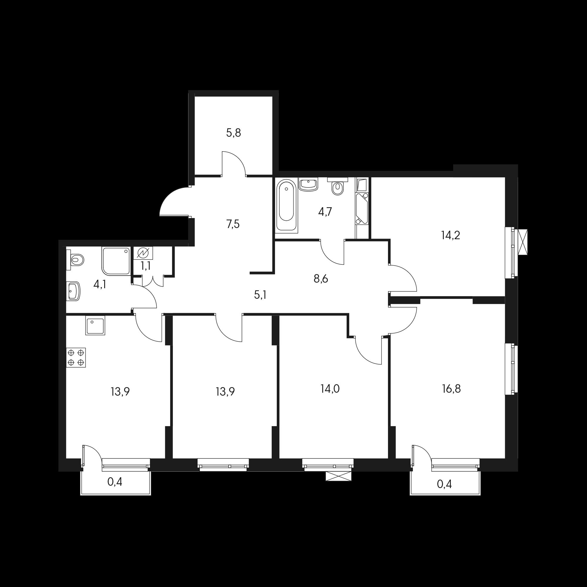 4-комнатная 111 м²
