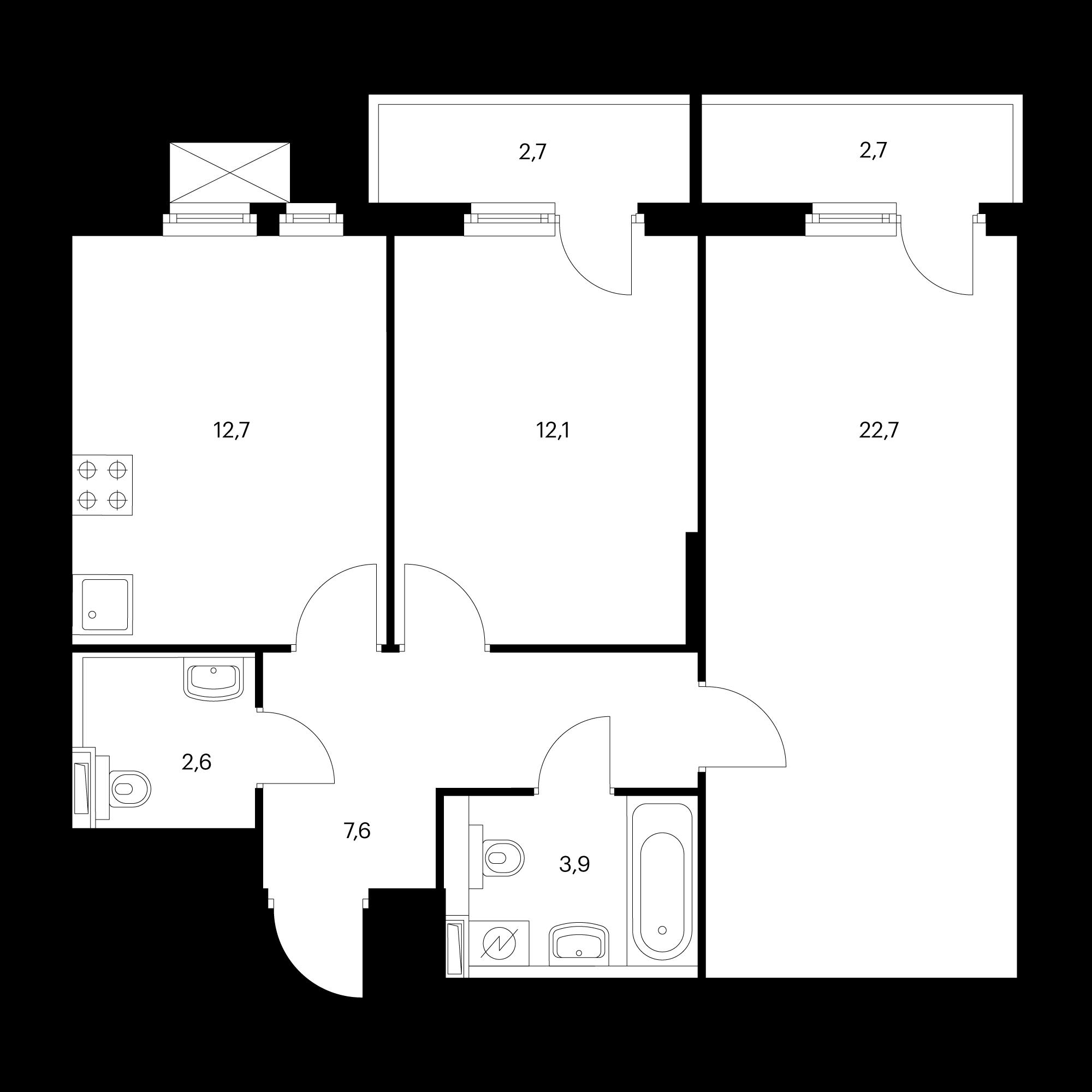 2-комнатная 63.4 м²