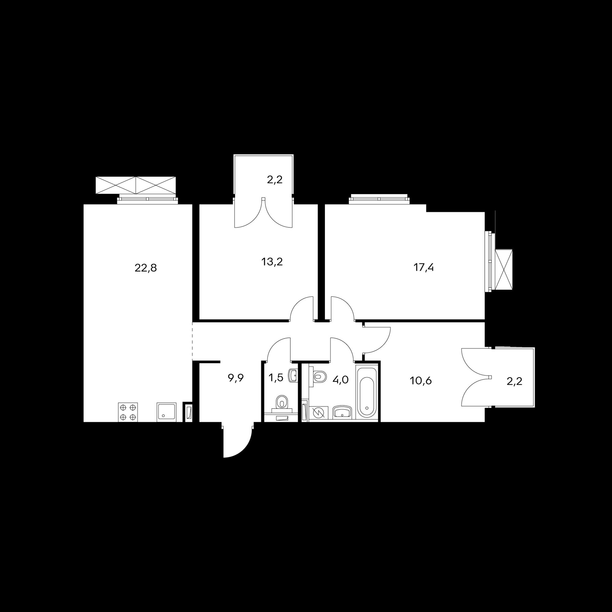 3-комнатная 80.6  м²