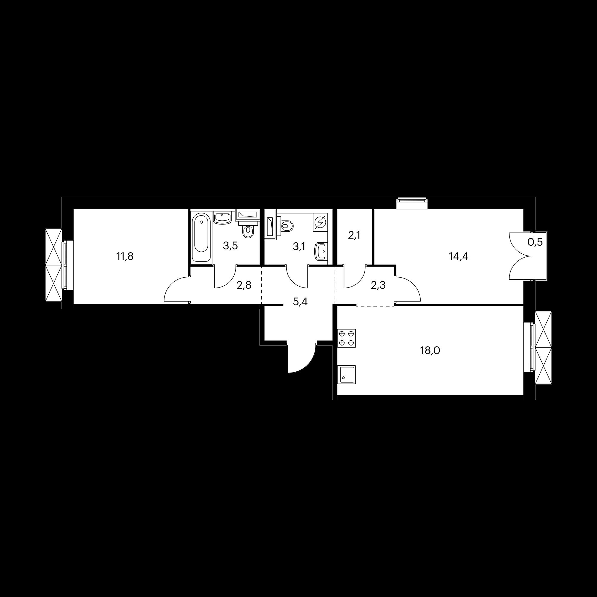 2-комнатная 63.6 м²
