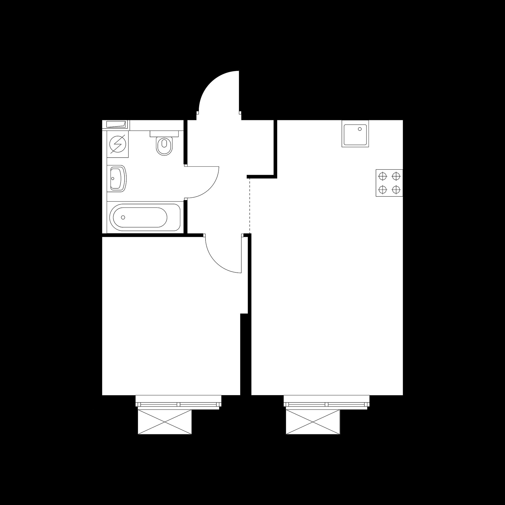 1-комнатная 39.35  м²