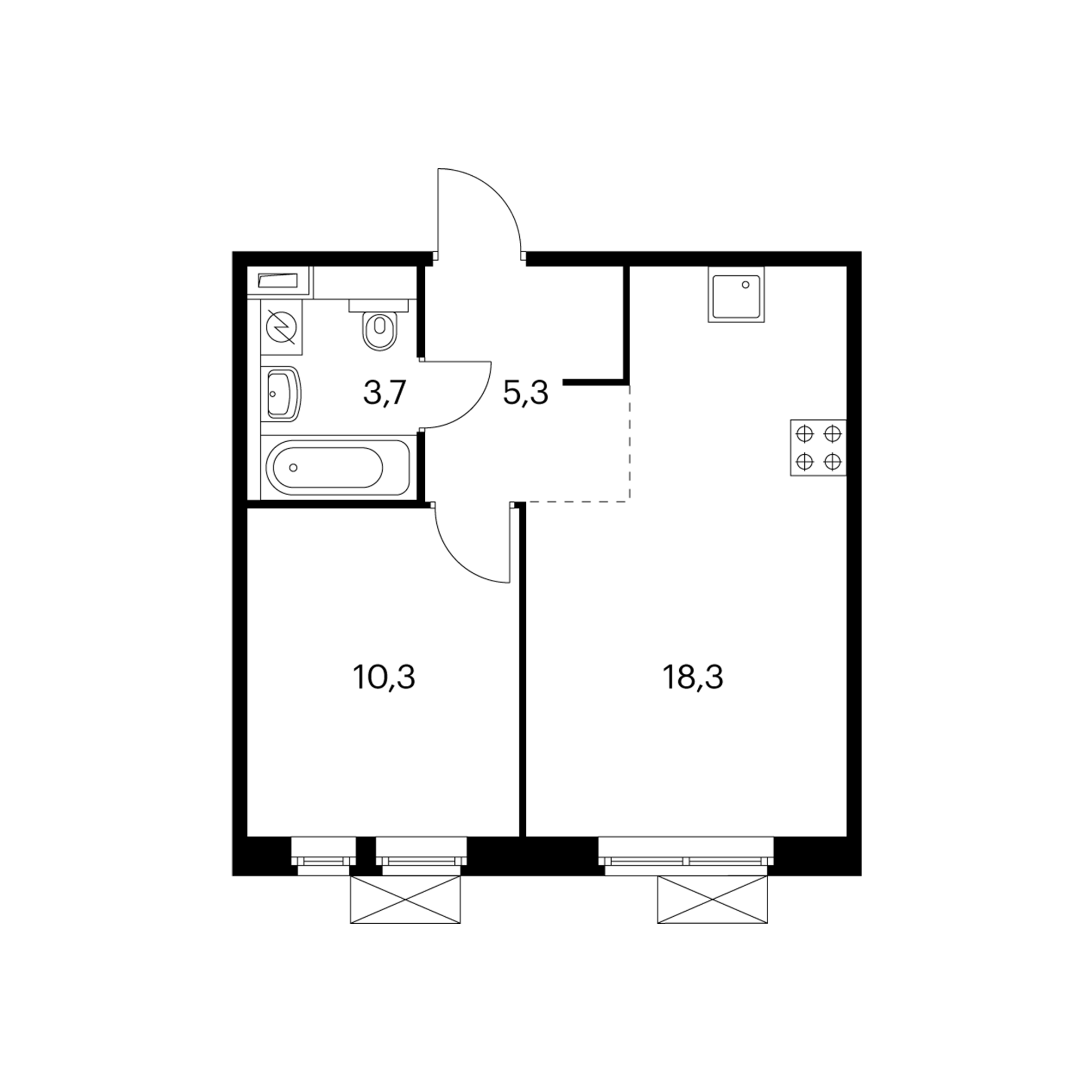 1-комнатная 38.2 м²
