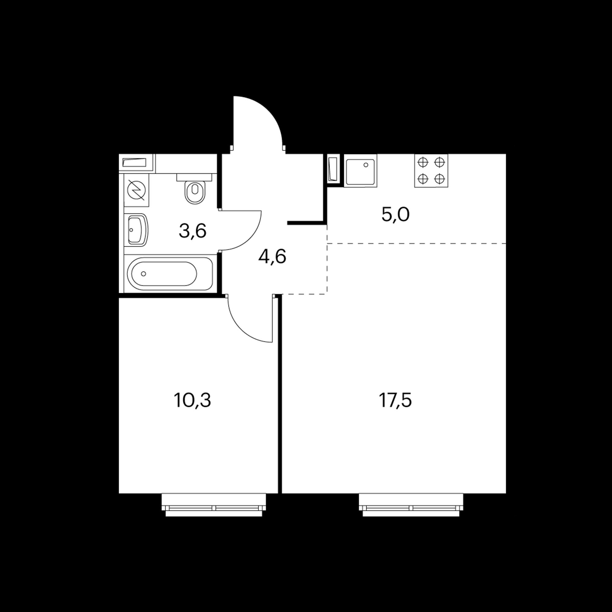 2-комнатная 41  м²