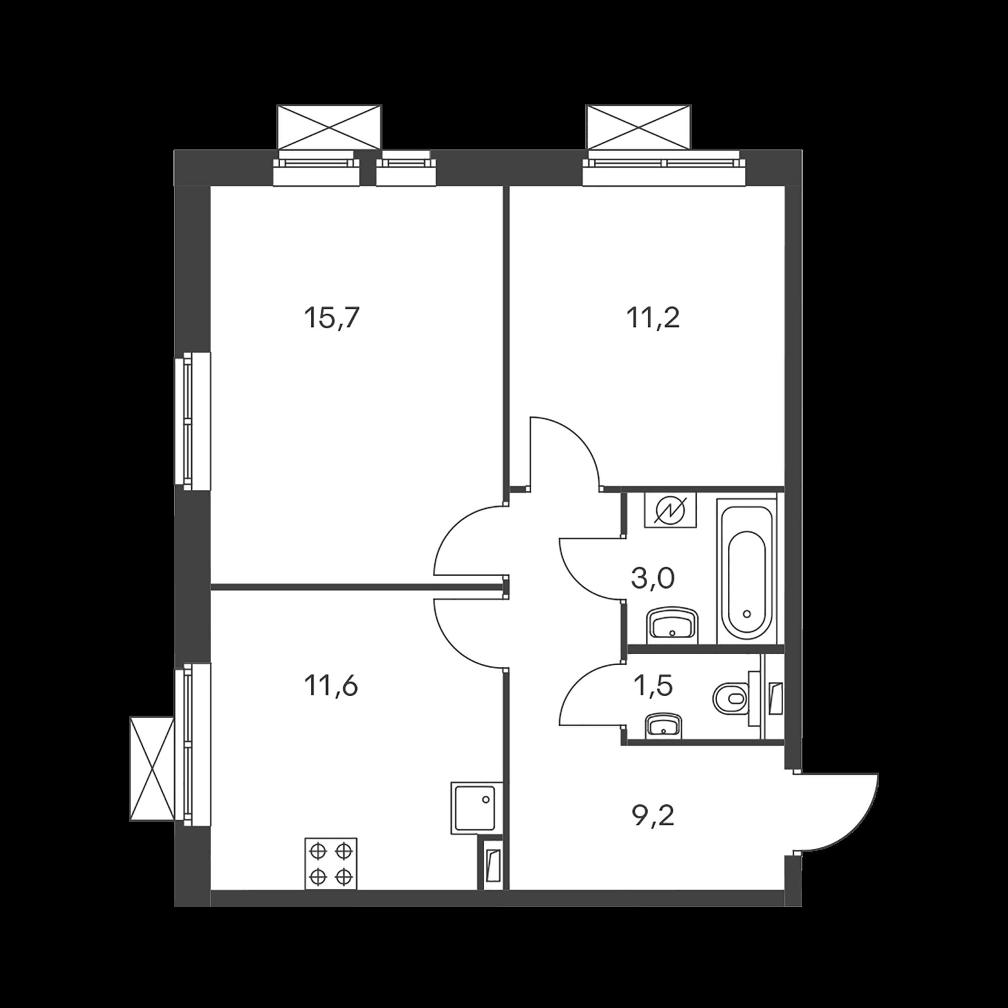 2-комнатная 52.2  м²