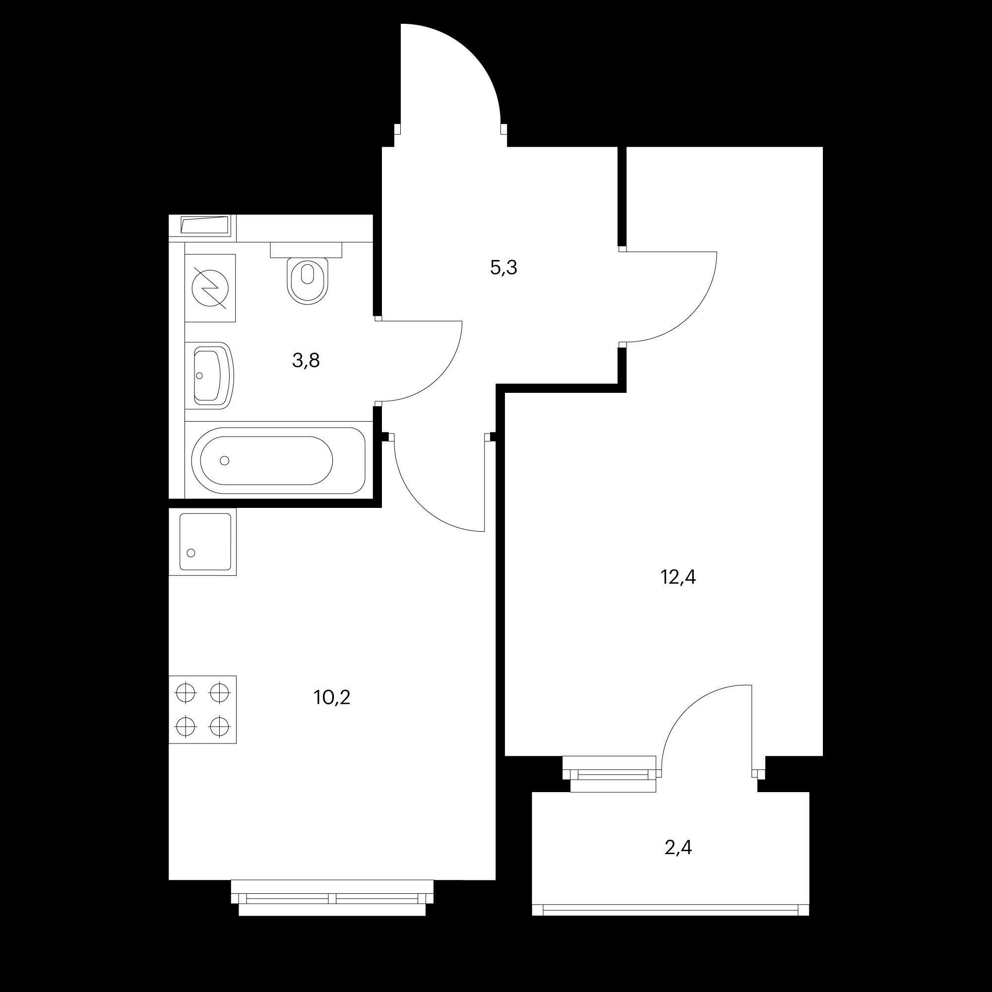 1-комнатная 32.9 м²