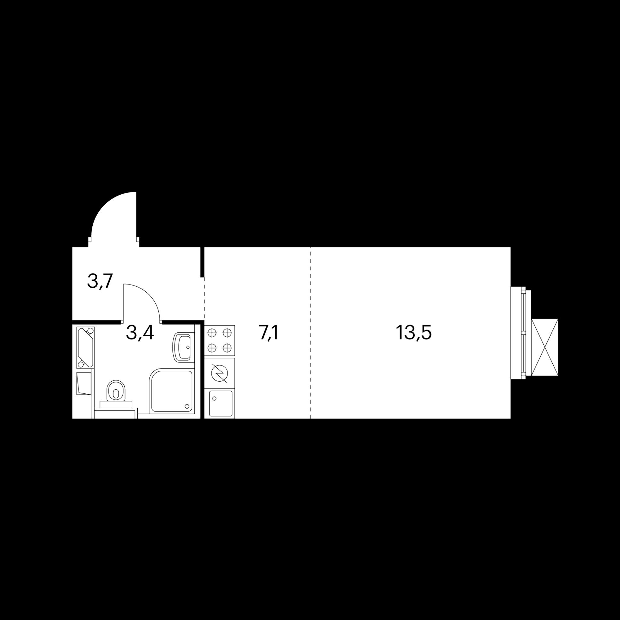 Студия 27.7  м²