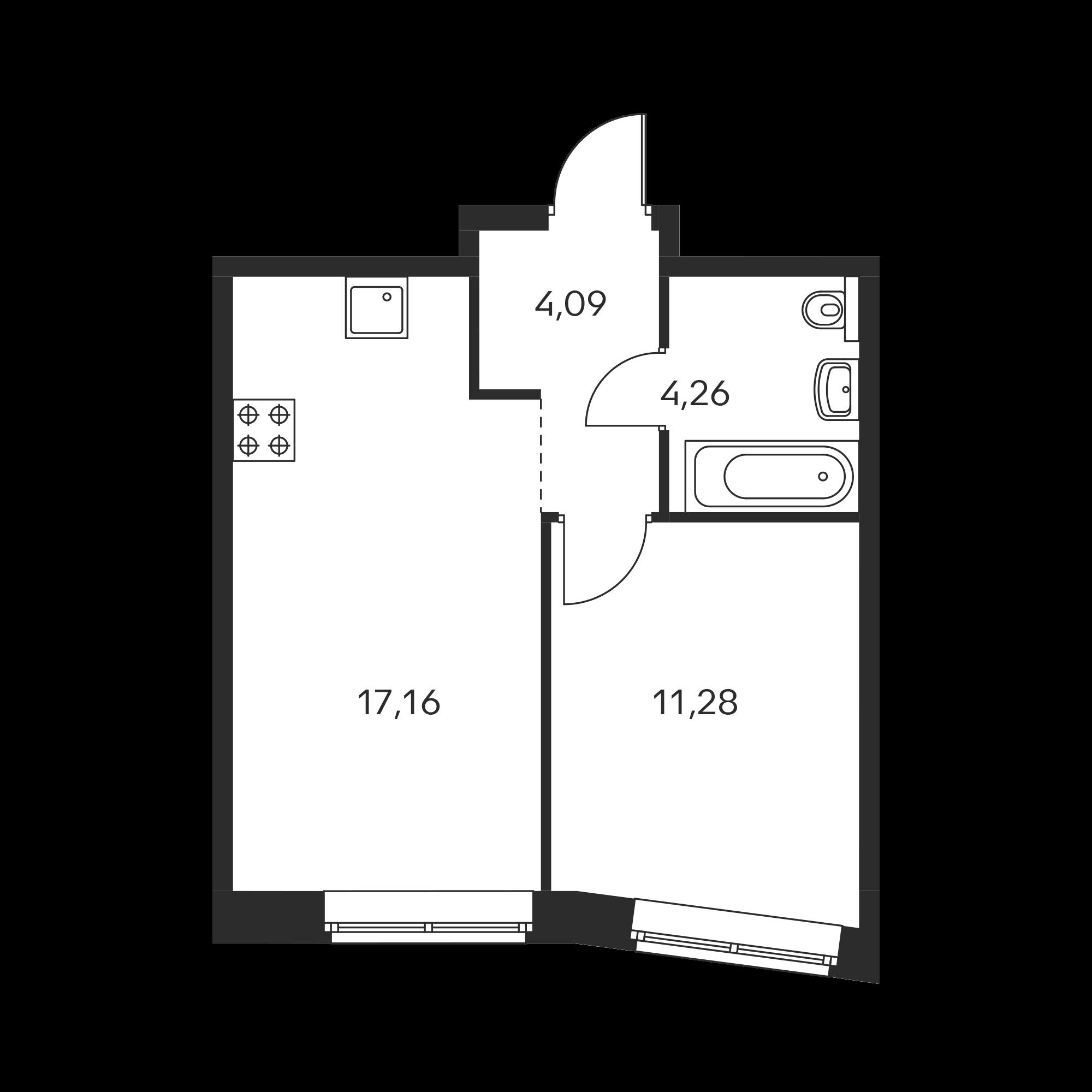 1-комнатная 36.79 м²