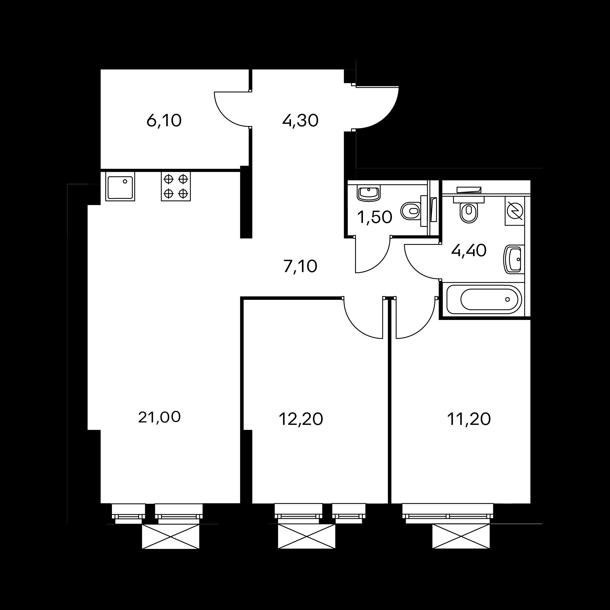 2-комнатная 67.7 м²