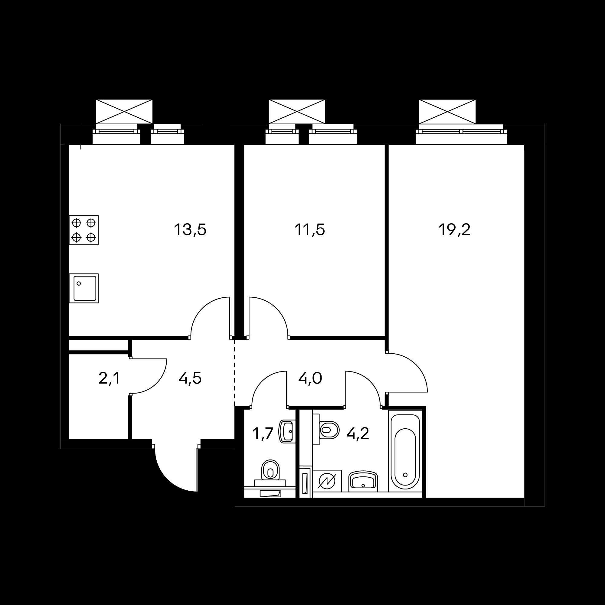 2-комнатная 60.7  м²