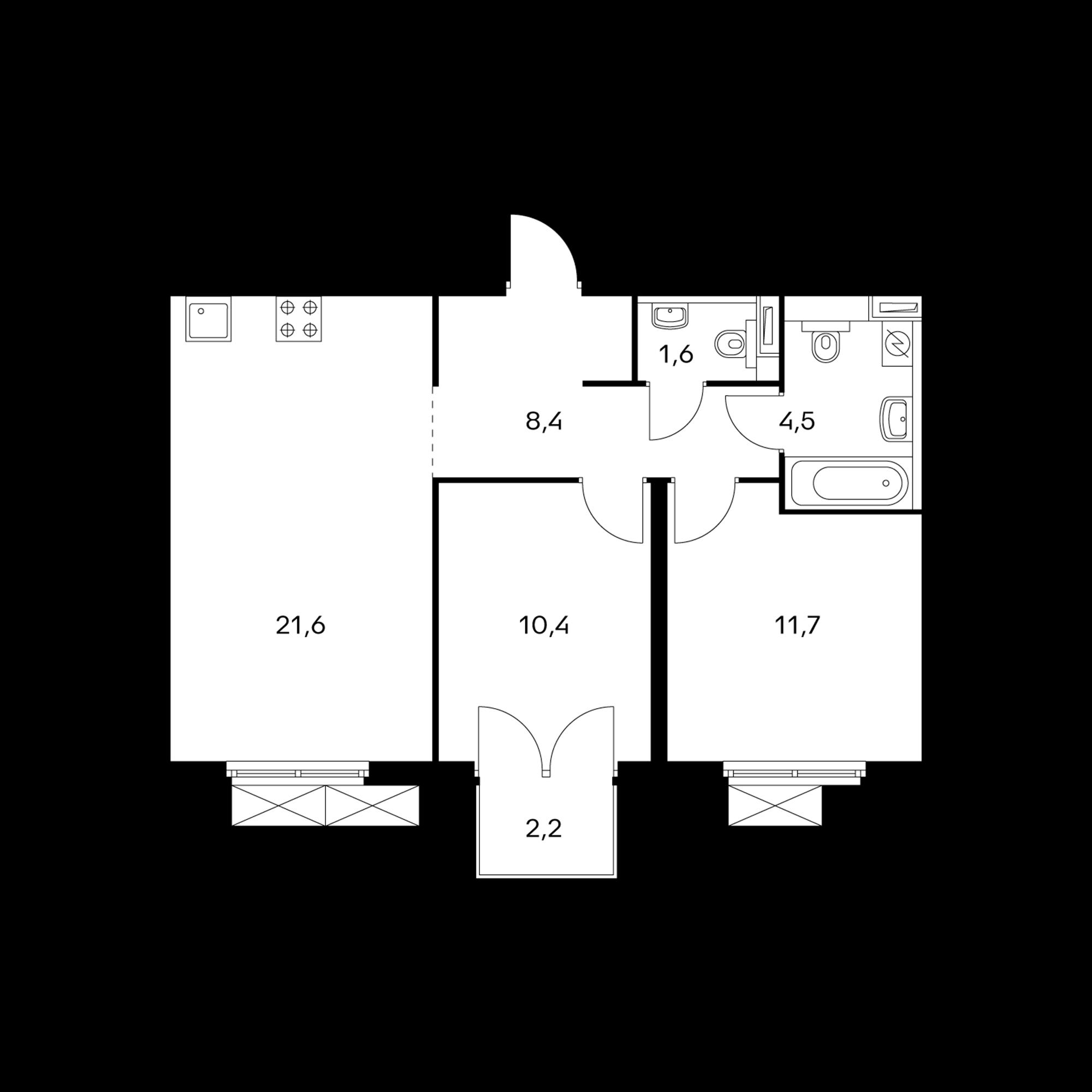 2-комнатная 58.9 м²