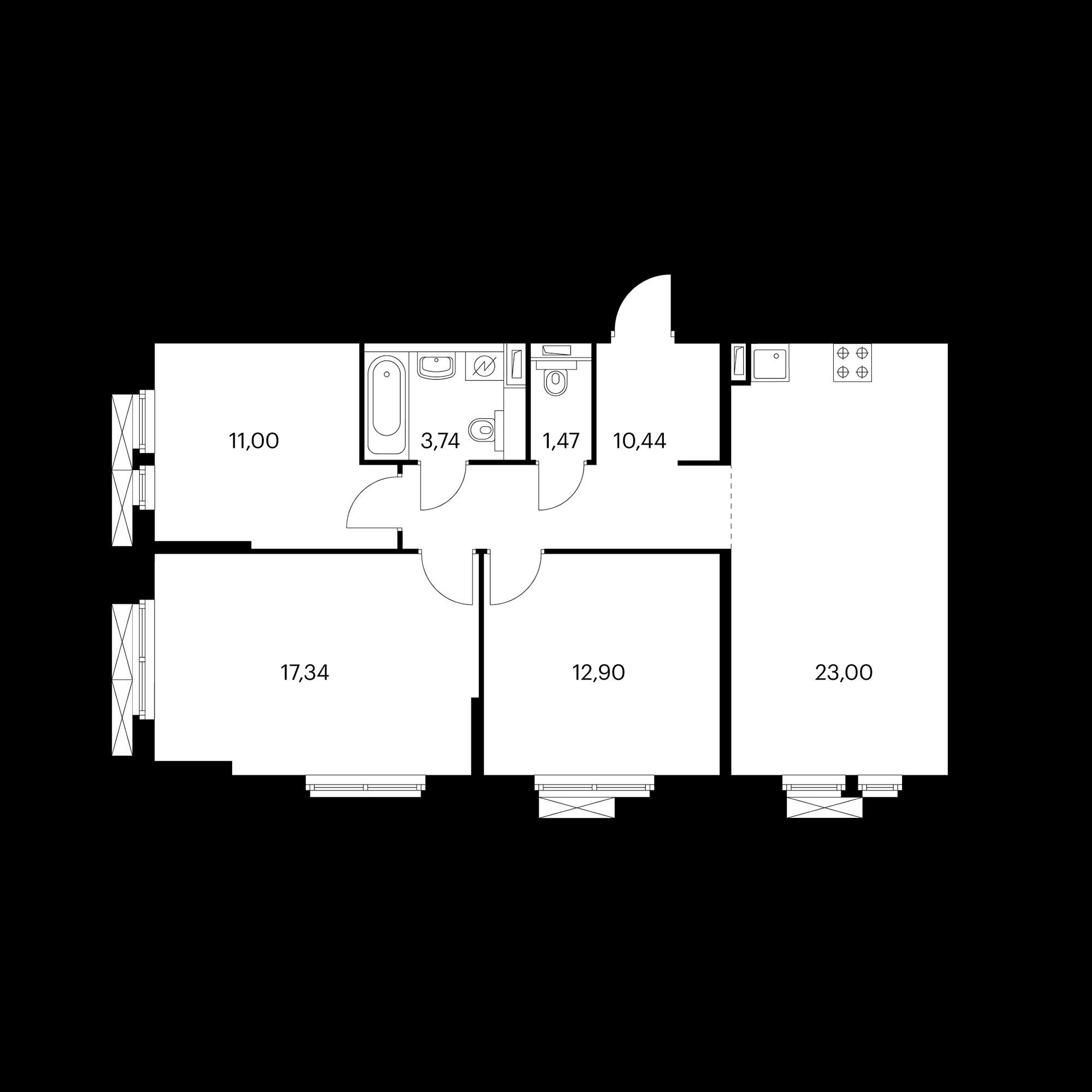 3-комнатная 79.89 м²