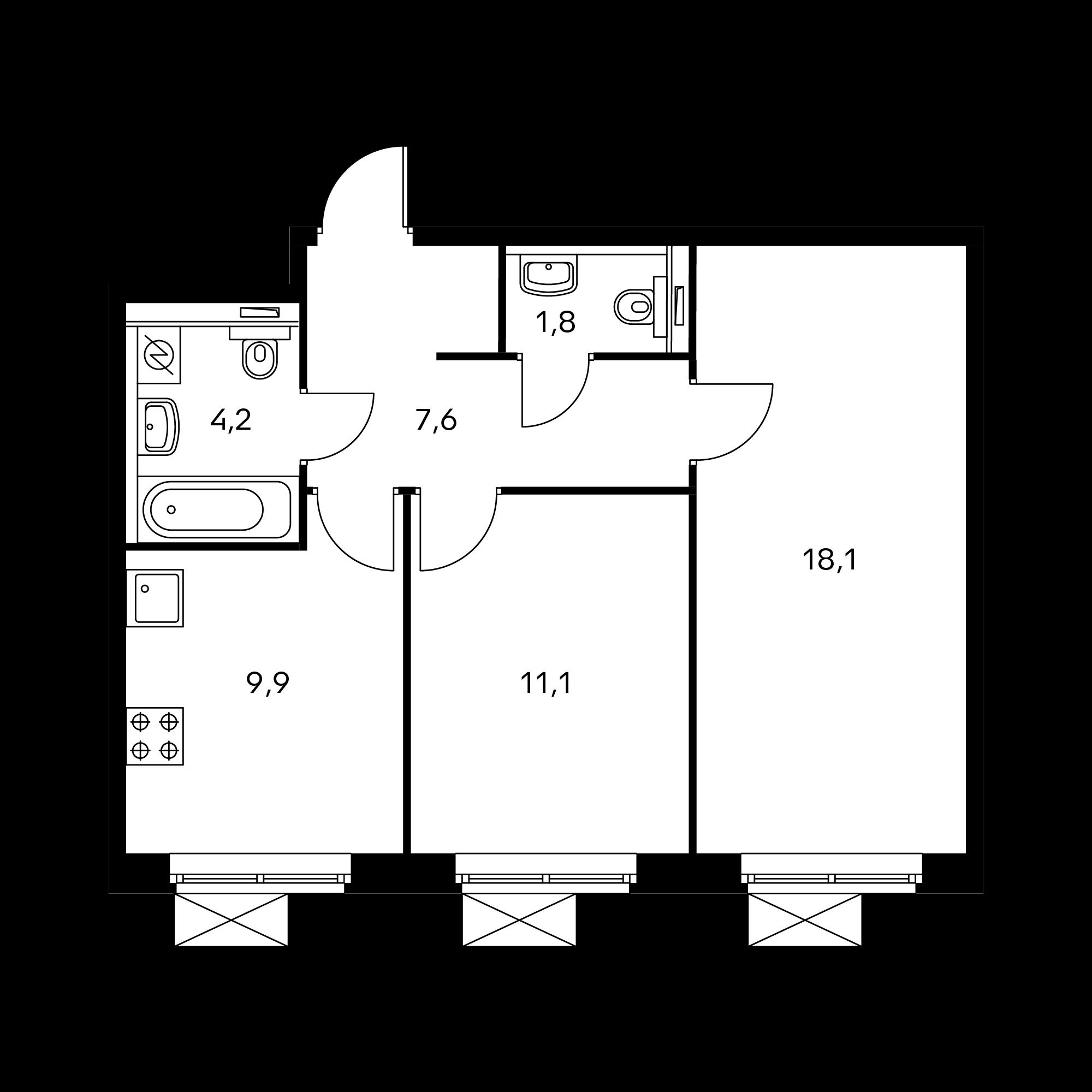 2-комнатная 52.1  м²