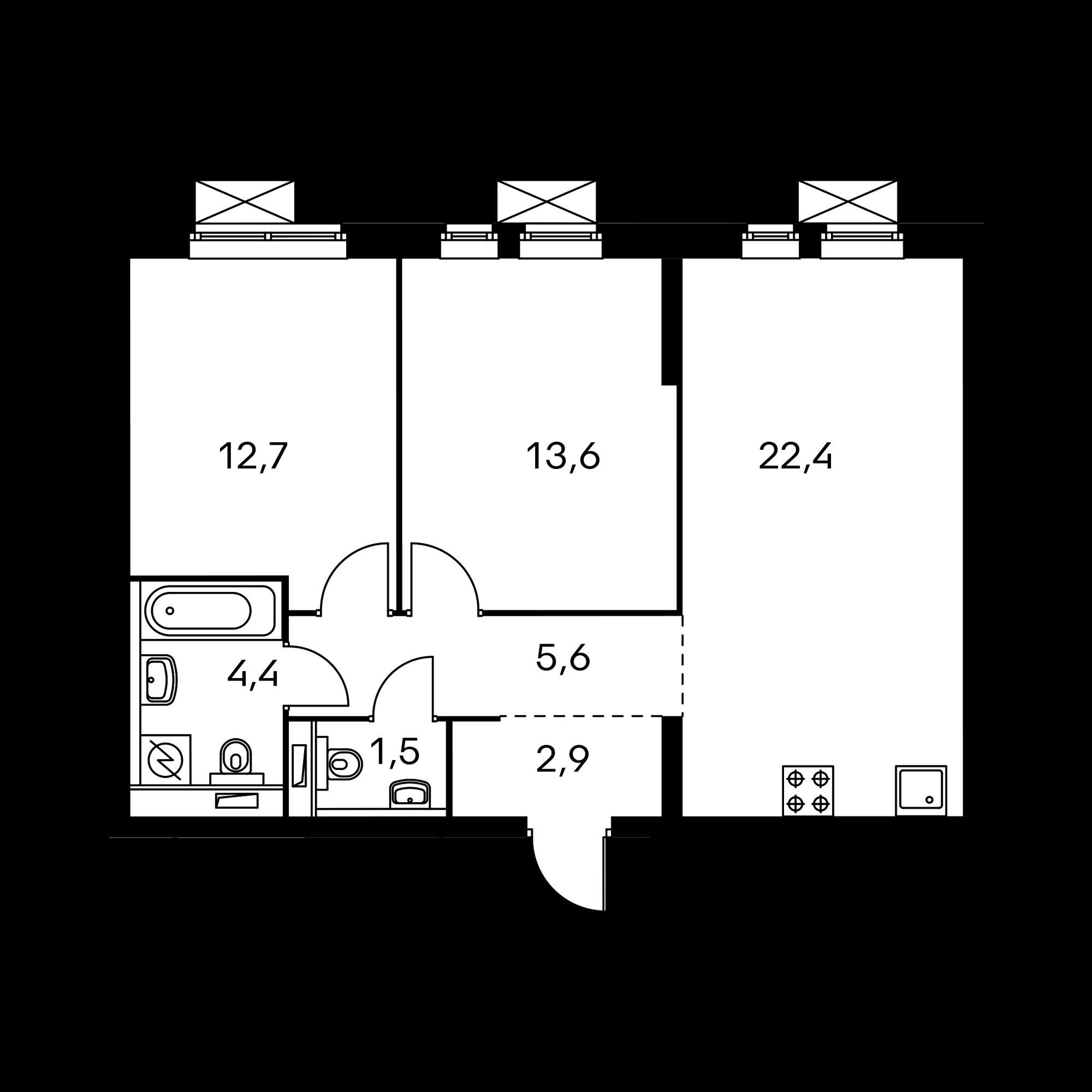 2-комнатная 63.1  м²
