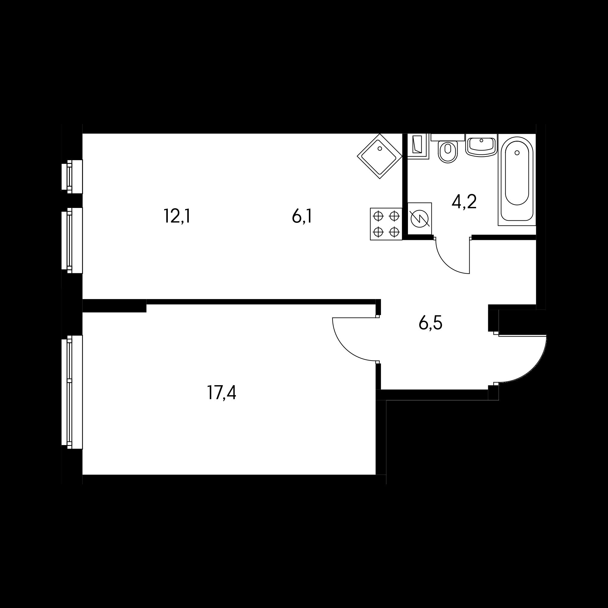 2-комнатная 43.2 м²