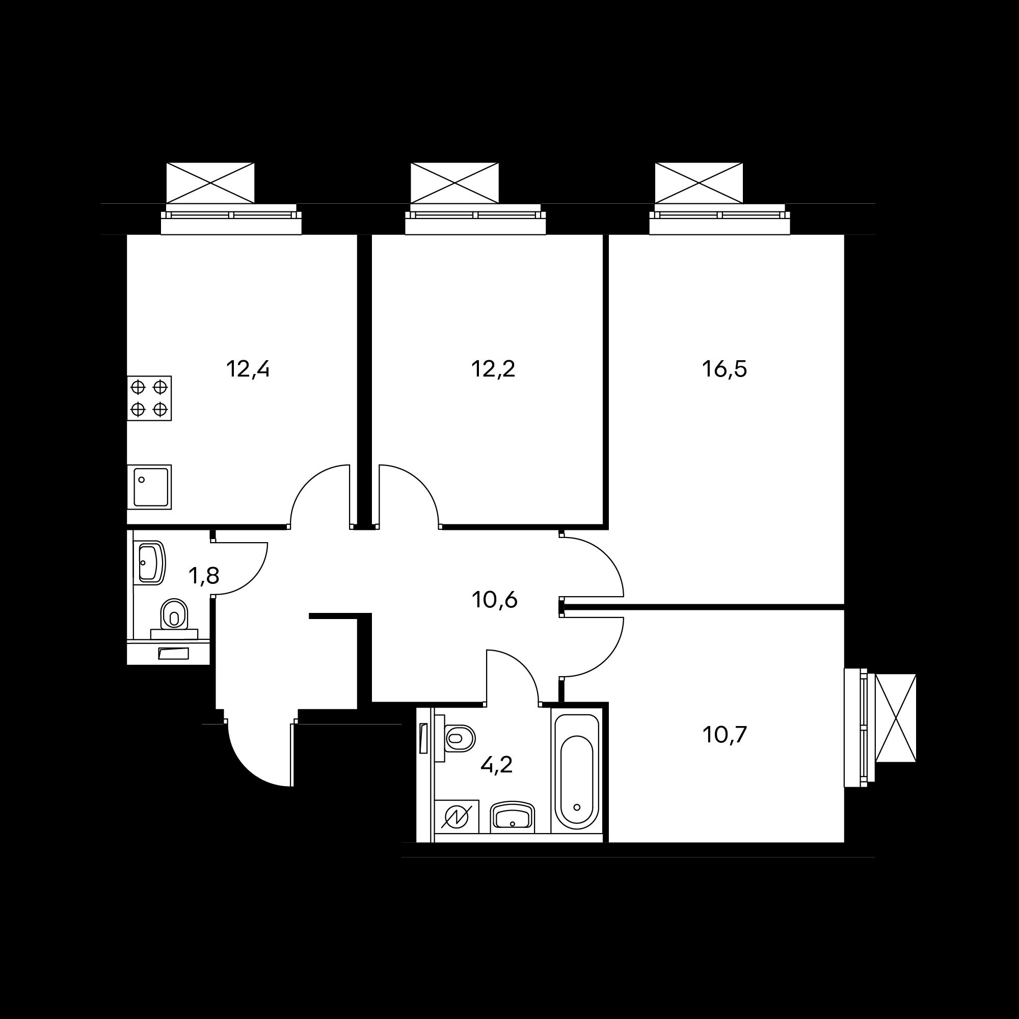 3-комнатная 68.4 м²