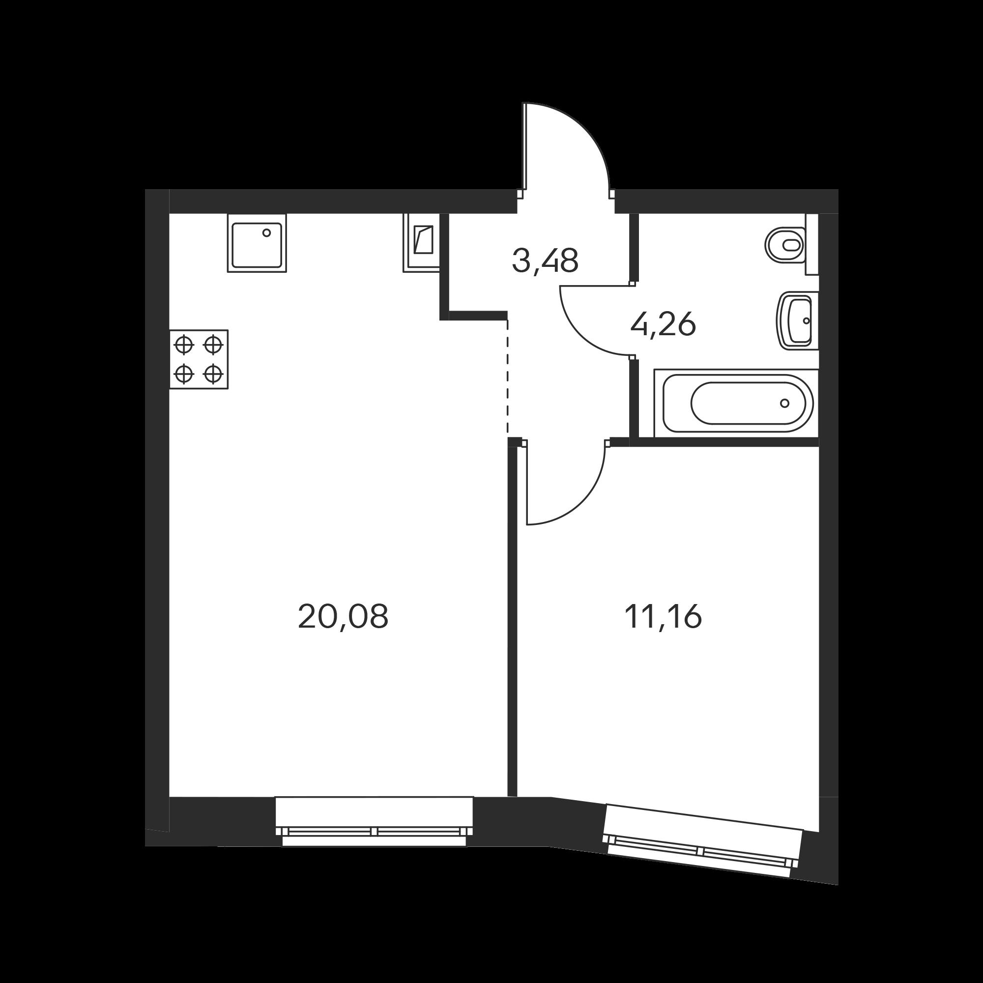 1-комнатная 39.48 м²
