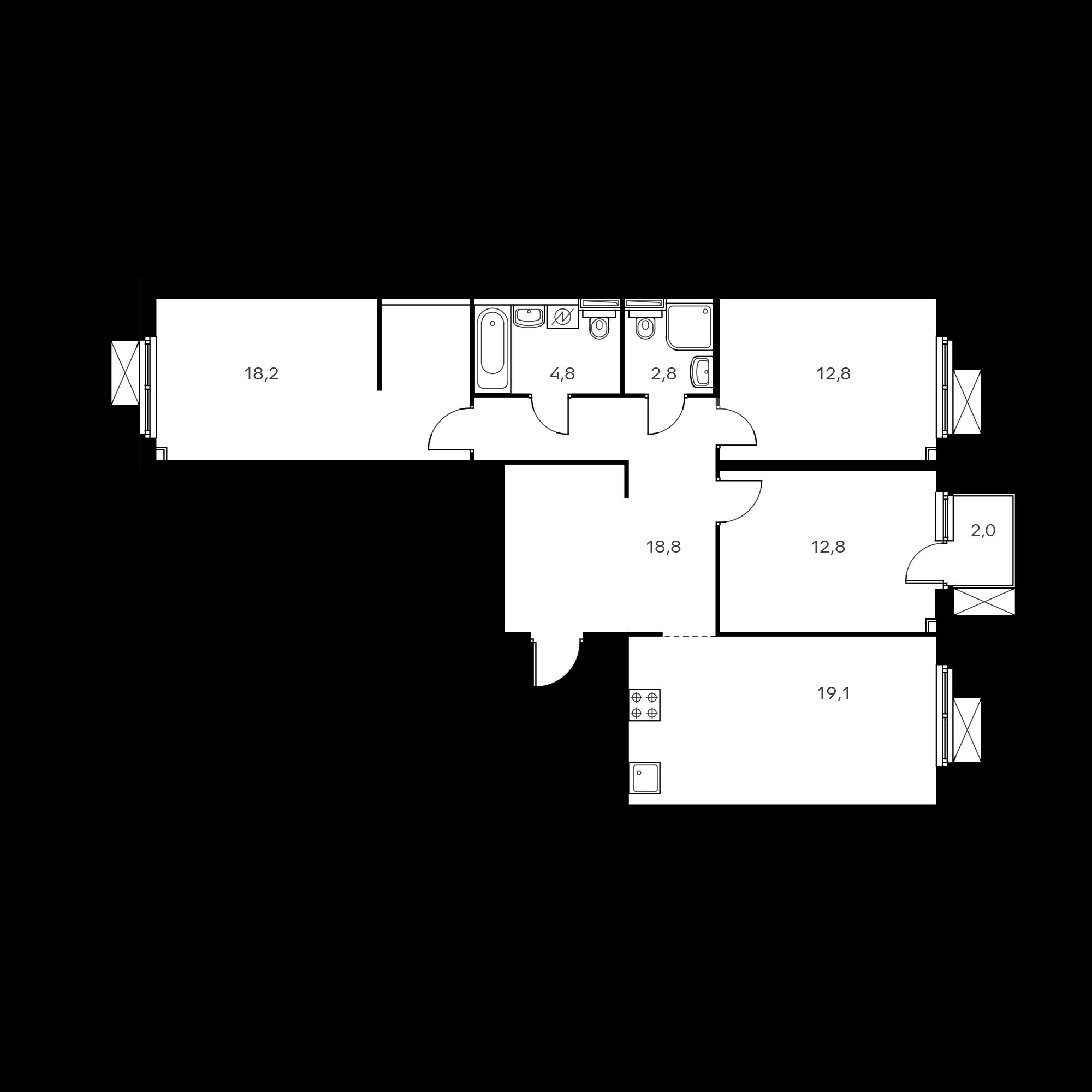 3-комнатная 89.8  м²