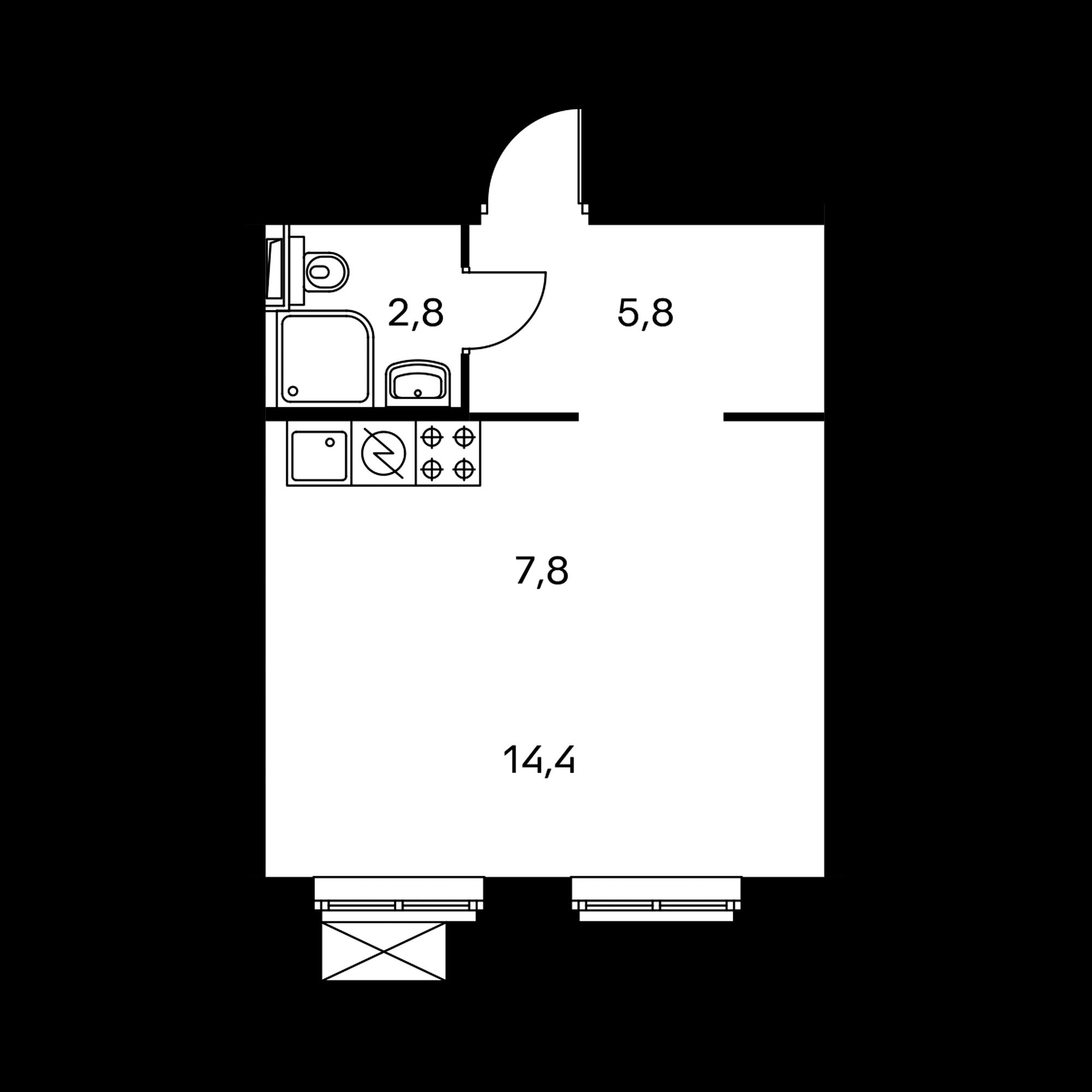 Студия 30.8  м²