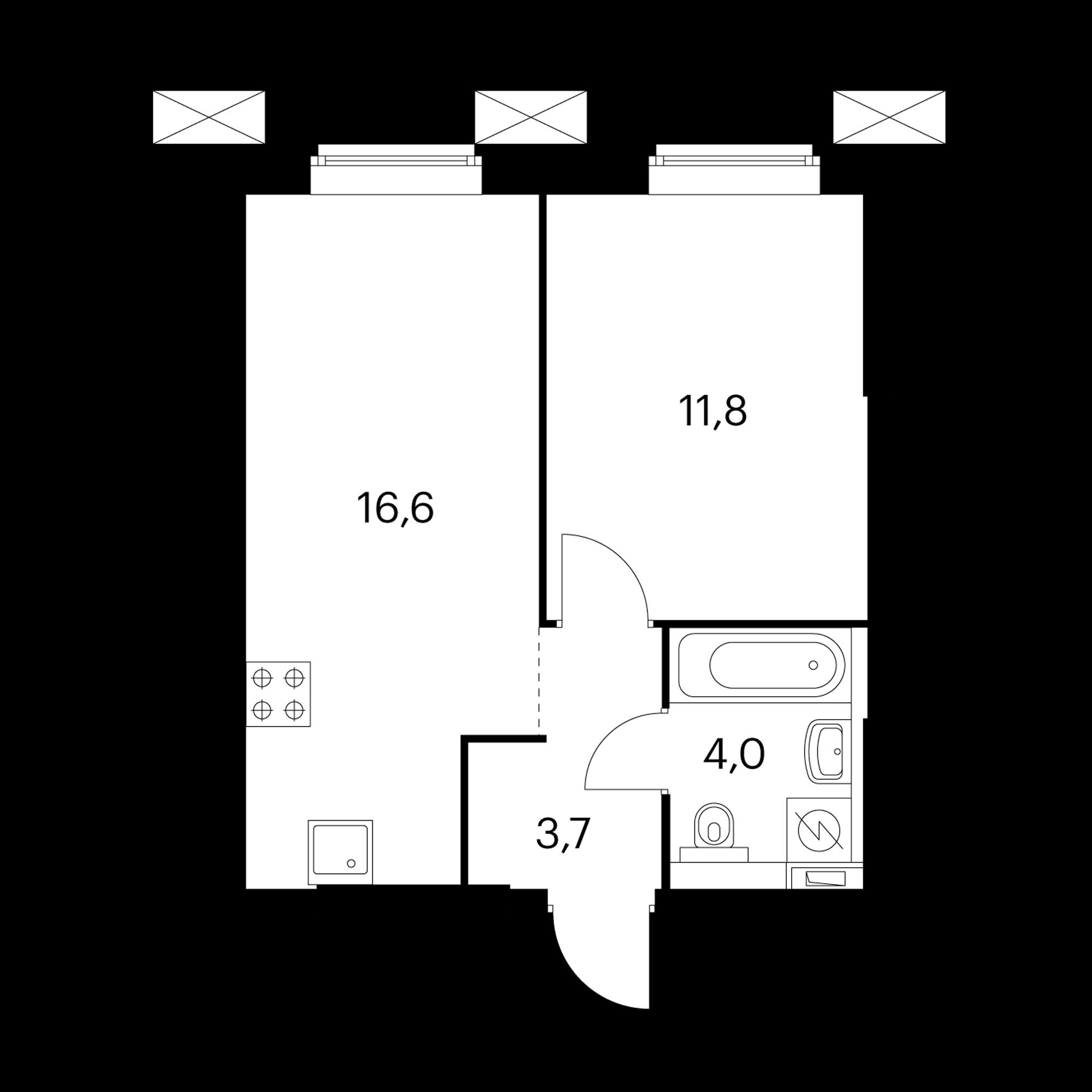 1-комнатные 36.1  м²