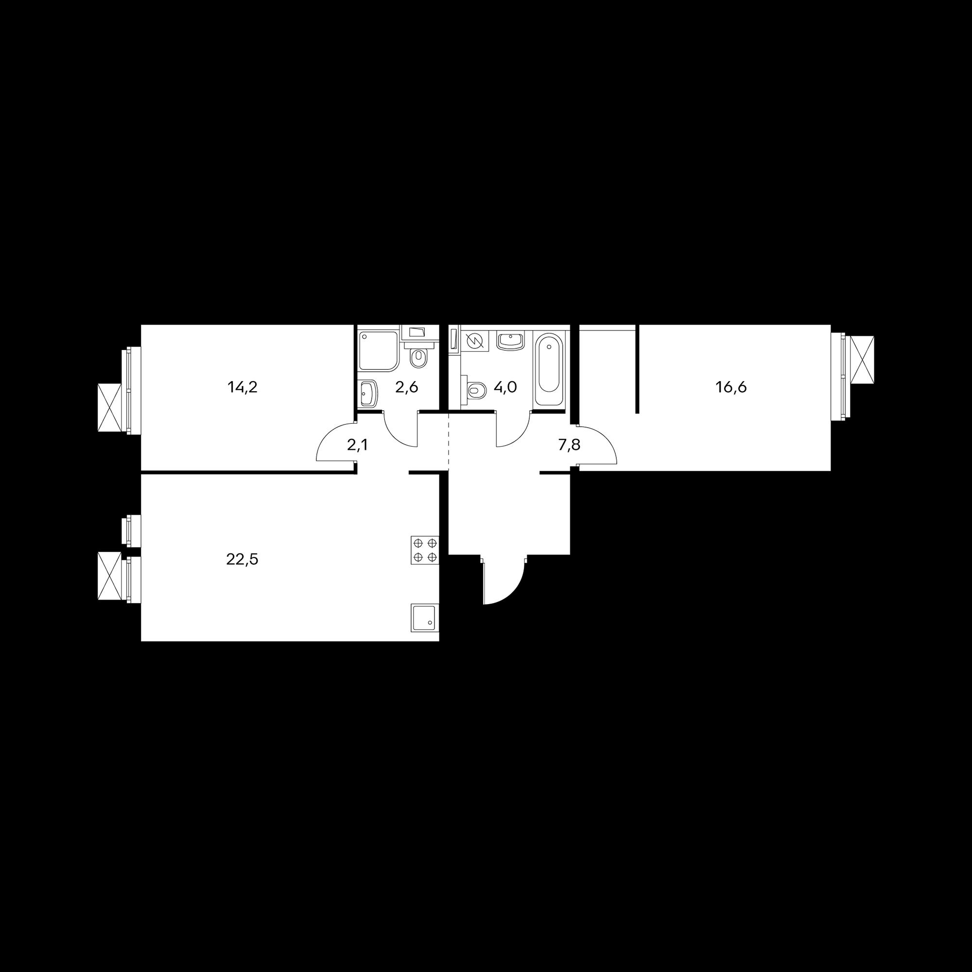 2-комнатная 69.8 м²