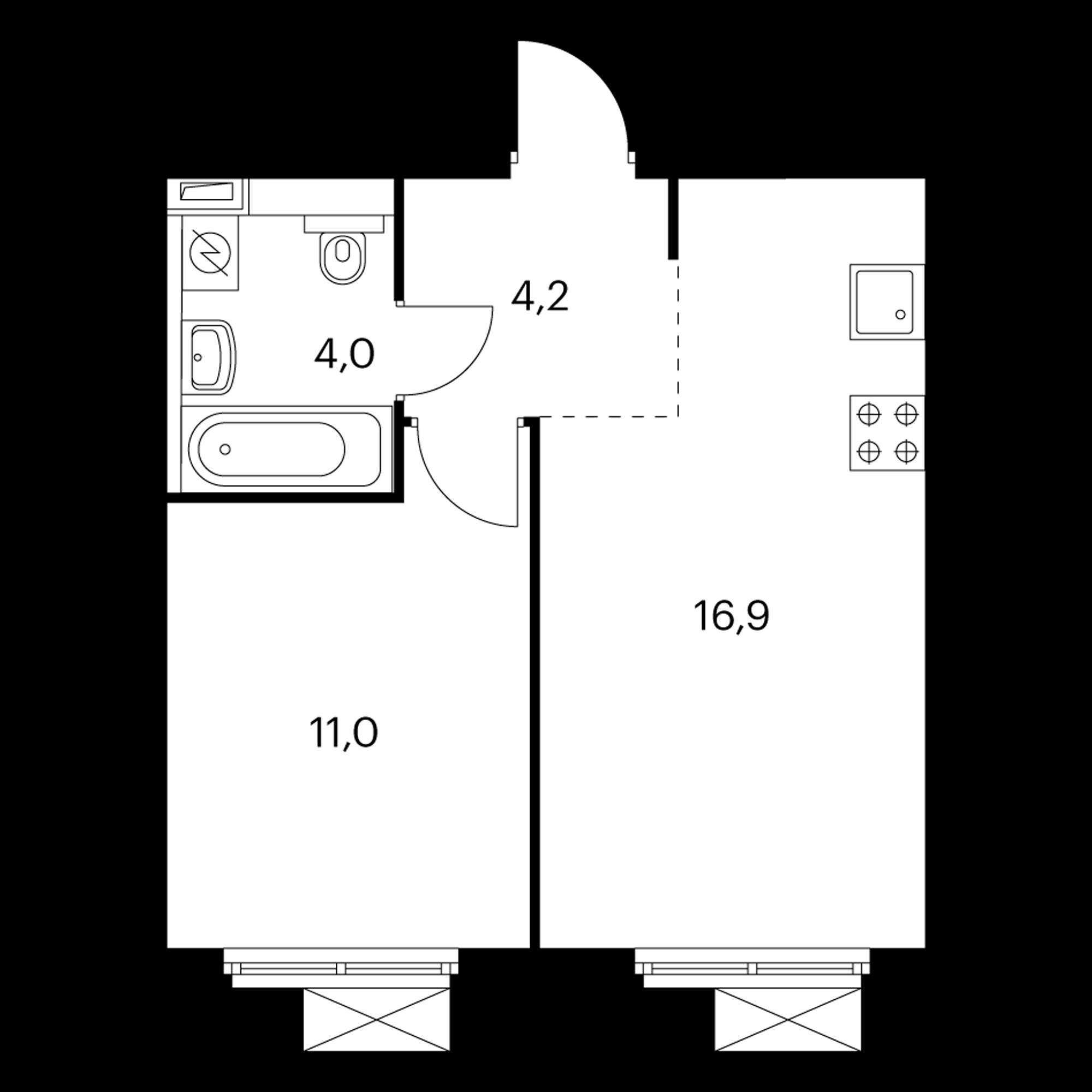 1-комнатная 36.1  м²