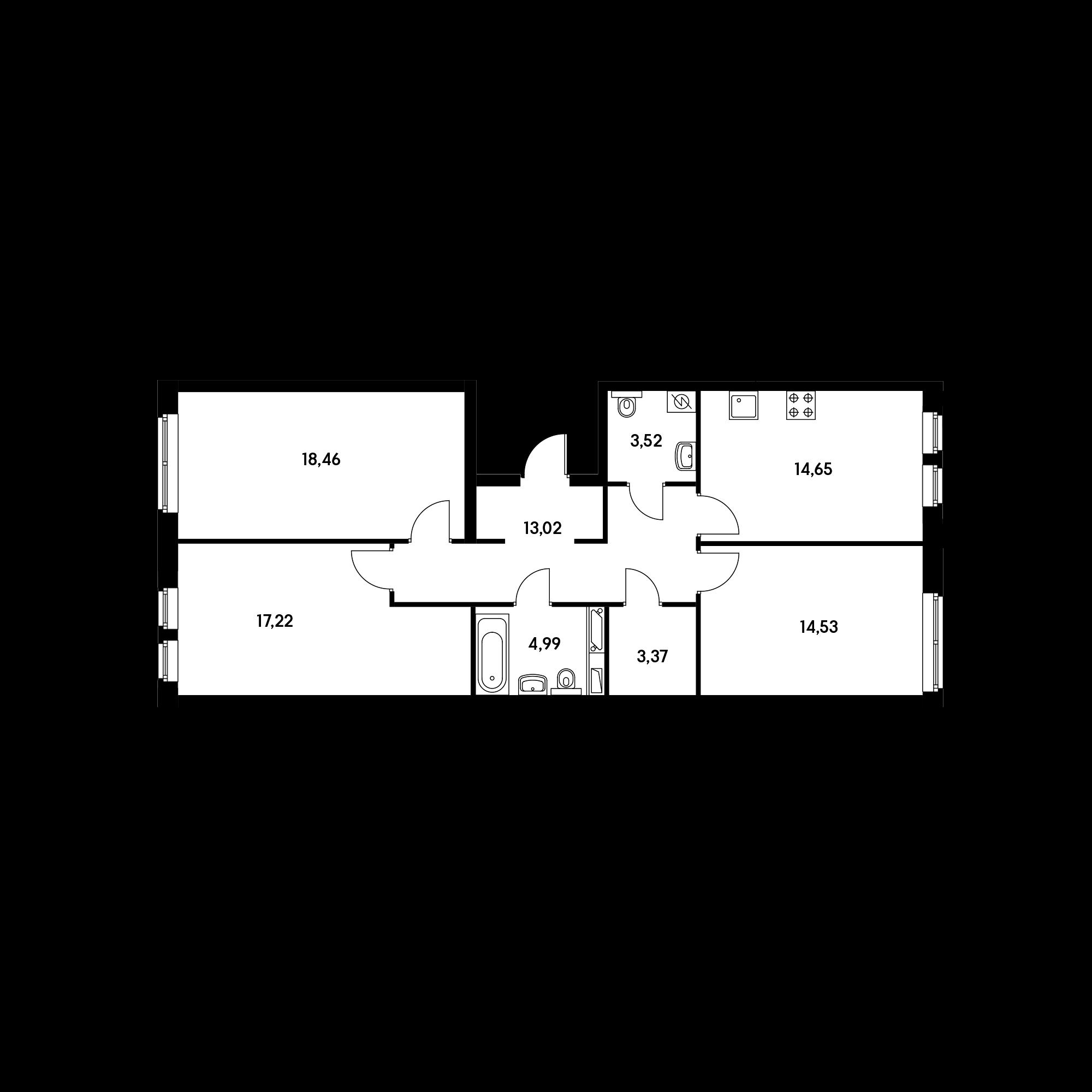 3-комнатная 89.76  м²