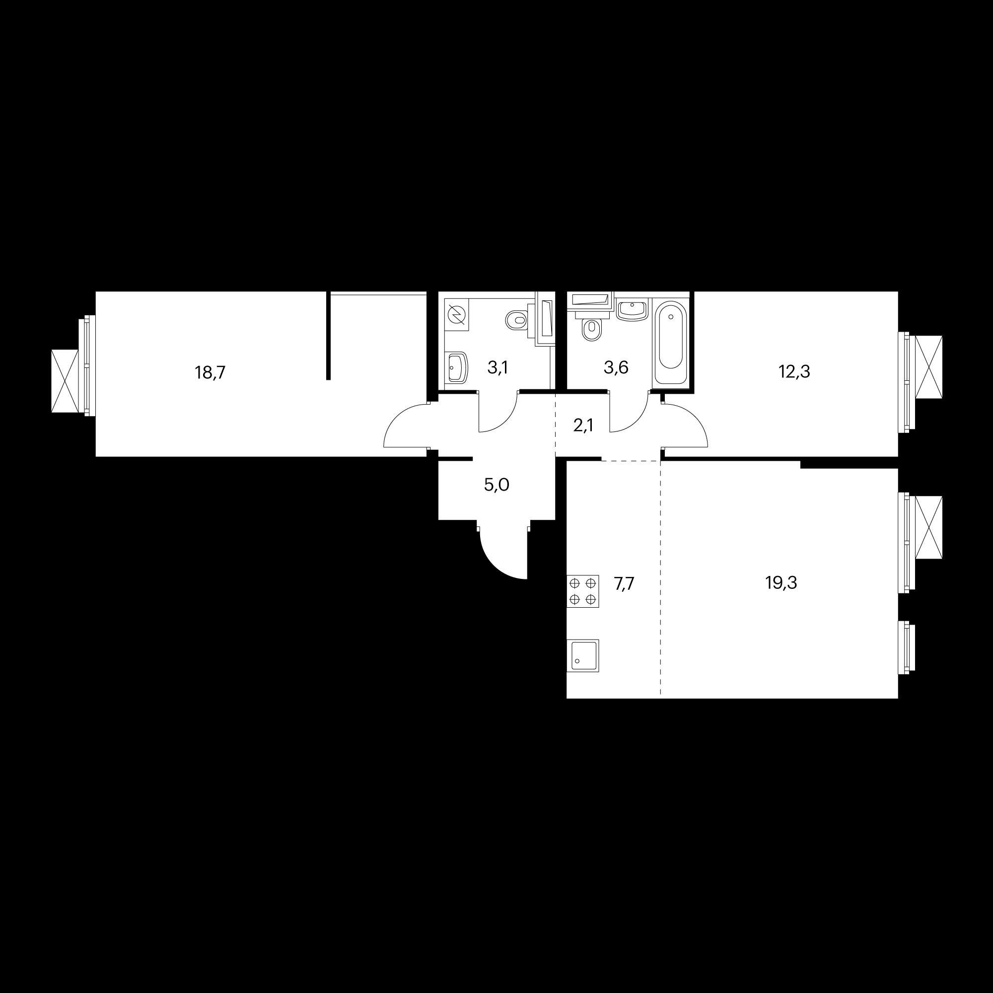 3-комнатная 71.8 м²