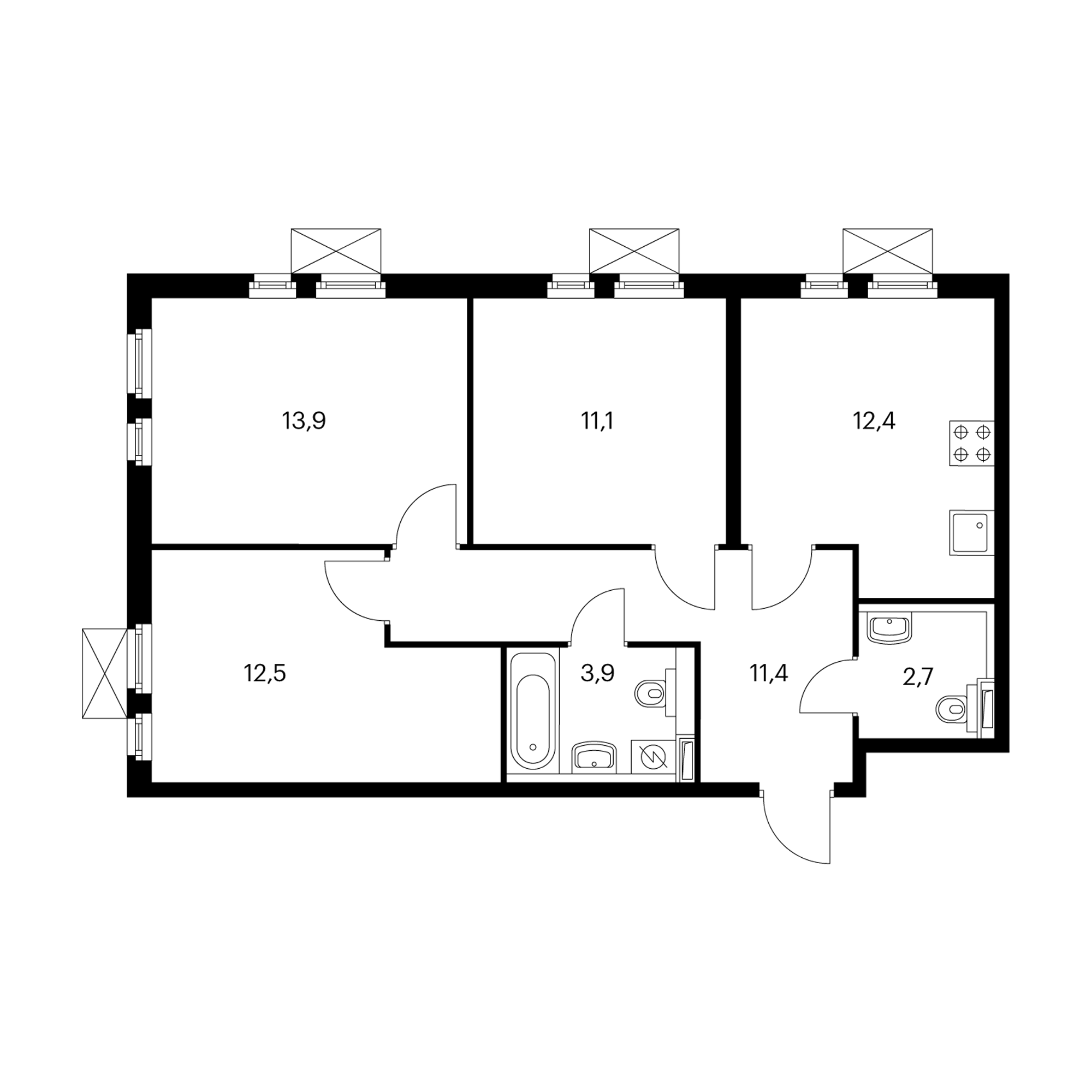 3-комнатная 67.9 м²