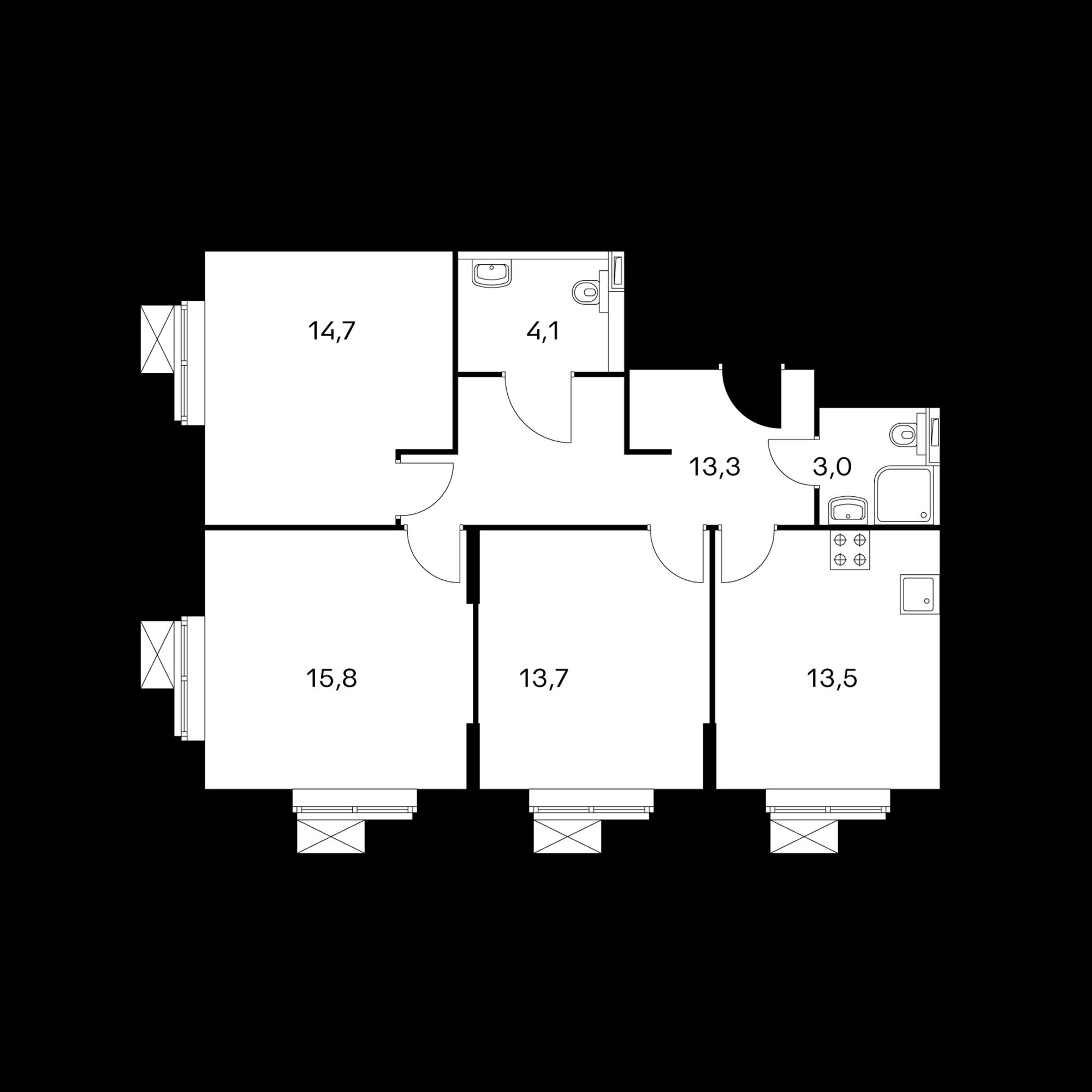 3-комнатные 78.1 м²